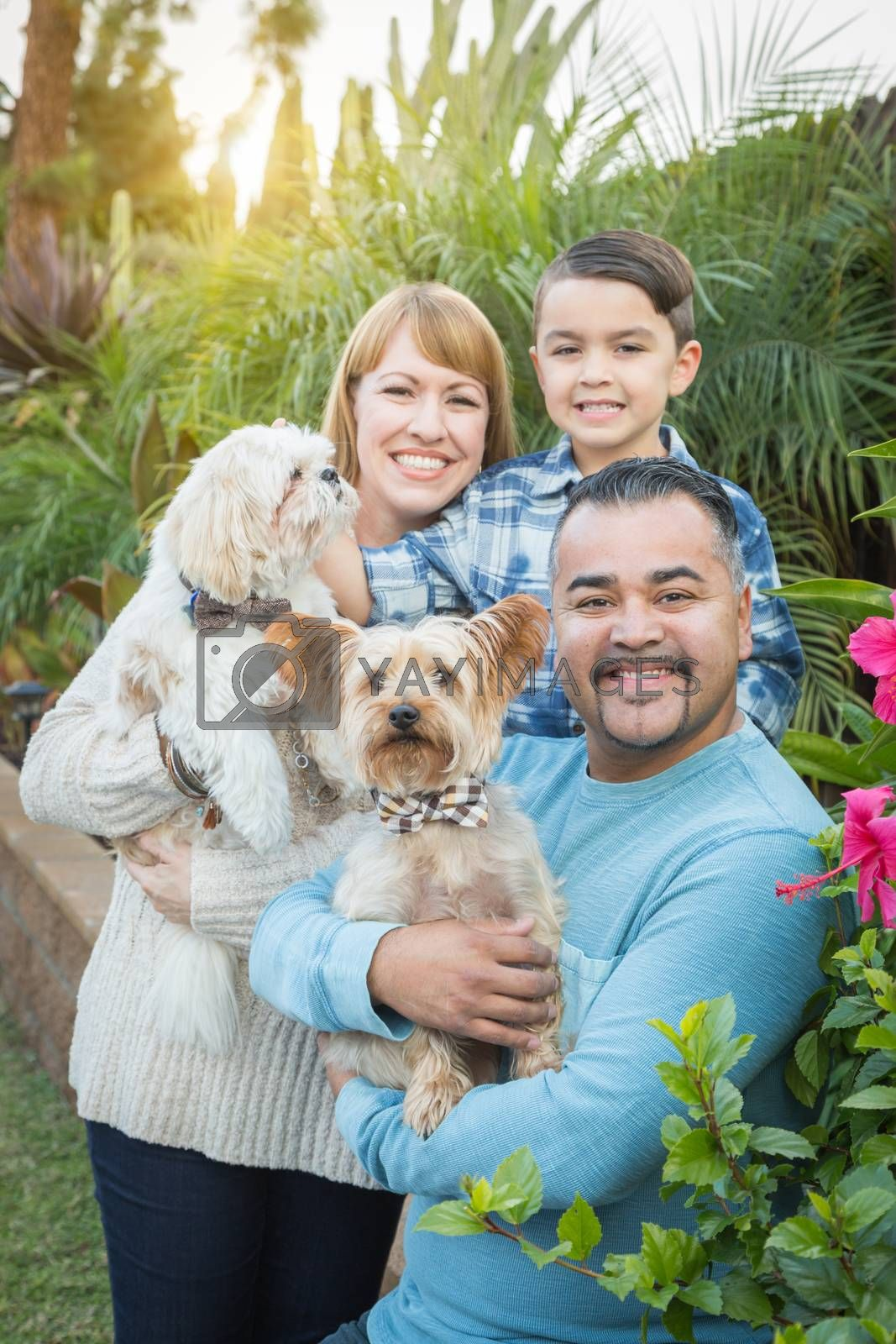 Happy Mixed Race Family Portrait Outdoors.