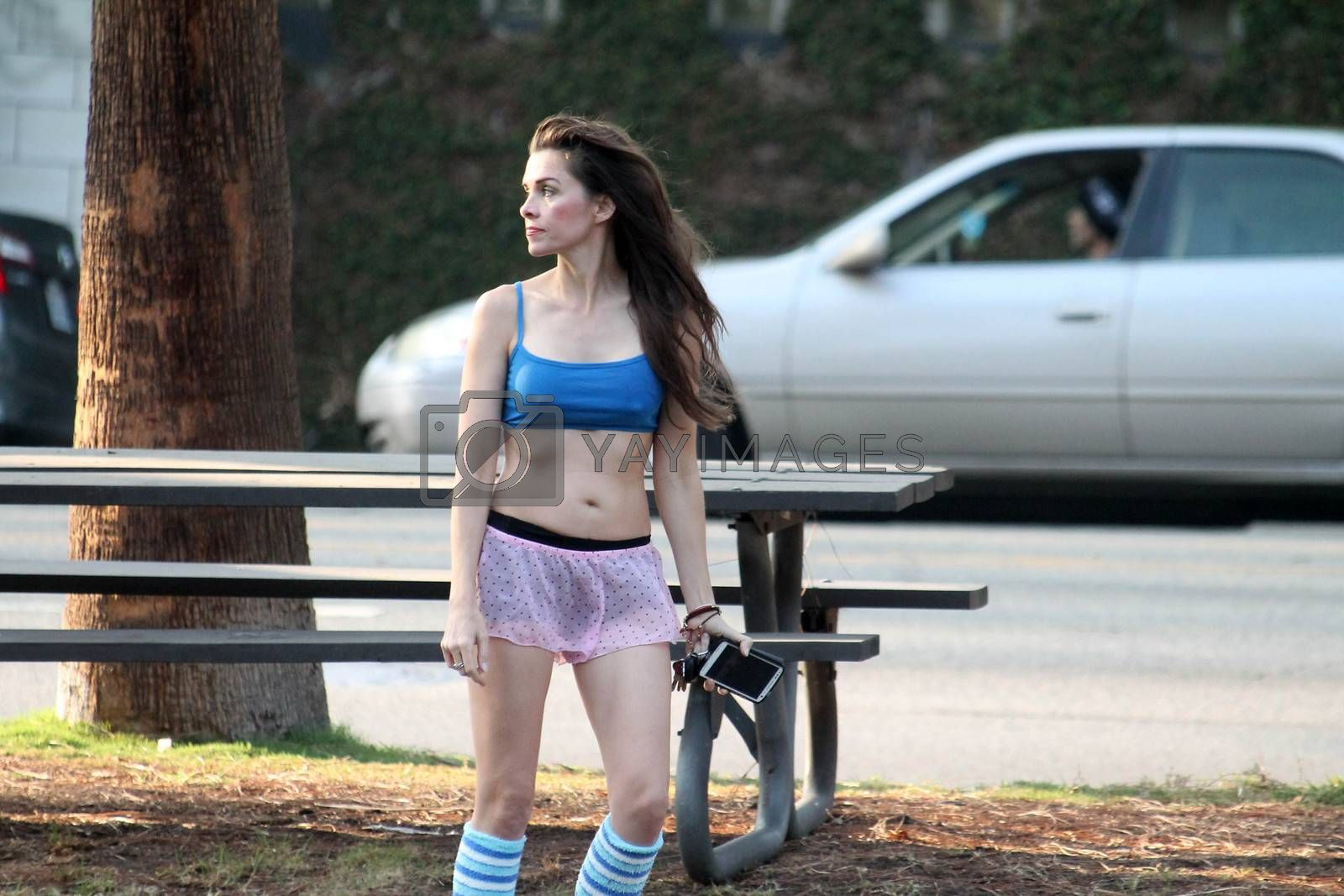 Alicia Arden leaves Yoga class and flashes some bizarre underwear while changing at her car, Los Angeles, CA 12-05-16