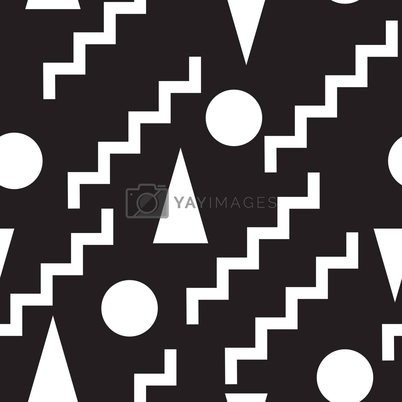 Geometric set  seamless black and white pattern. Perfect illustration for web background or print wrapping decoration and fashion textile, fabric, and interior design.