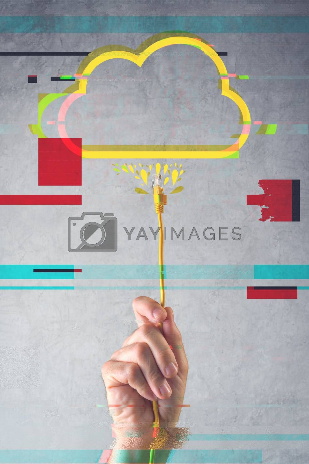 Cloud computing concept with digital glitch effect, male hand with LAN cable