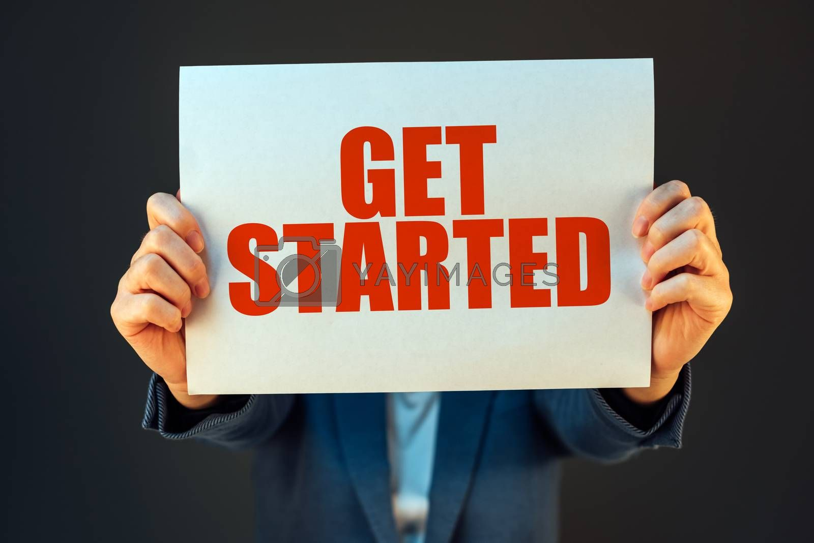 Get started business motivational message held by businesswoman, company start up concept