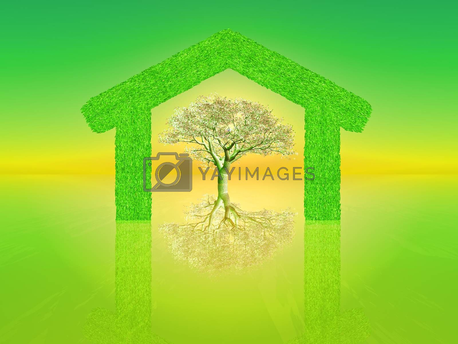 a blossoming tree inside a green home shape