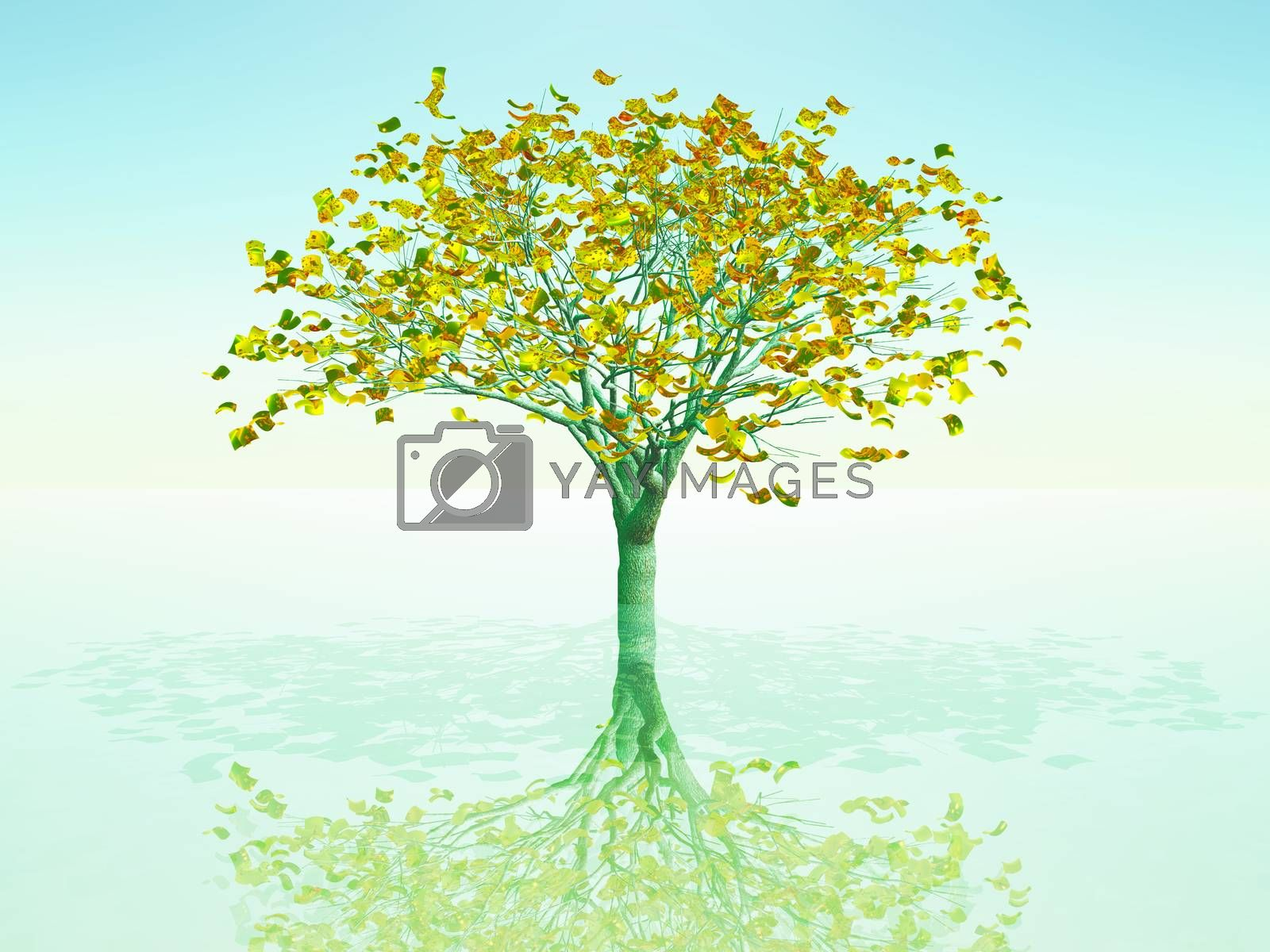a tree with golden leaves symbol of growing