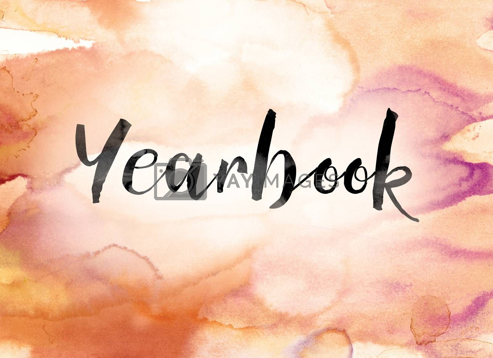 "The word ""Yearbook"" painted in black ink over a colorful watercolor washed background concept and theme."