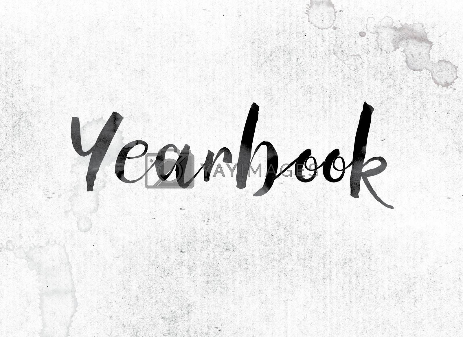 """The word """"Yearbook"""" concept and theme painted in watercolor ink on a white paper."""