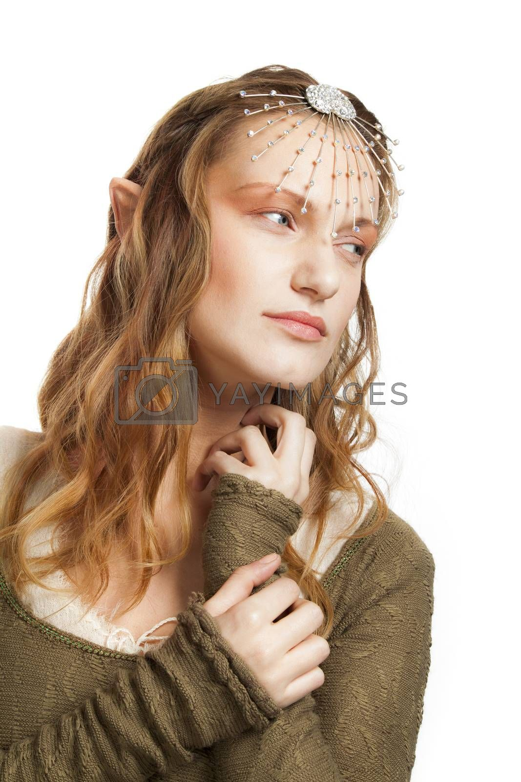 A portrait of a beautiful woman with tiara and elfs ears.