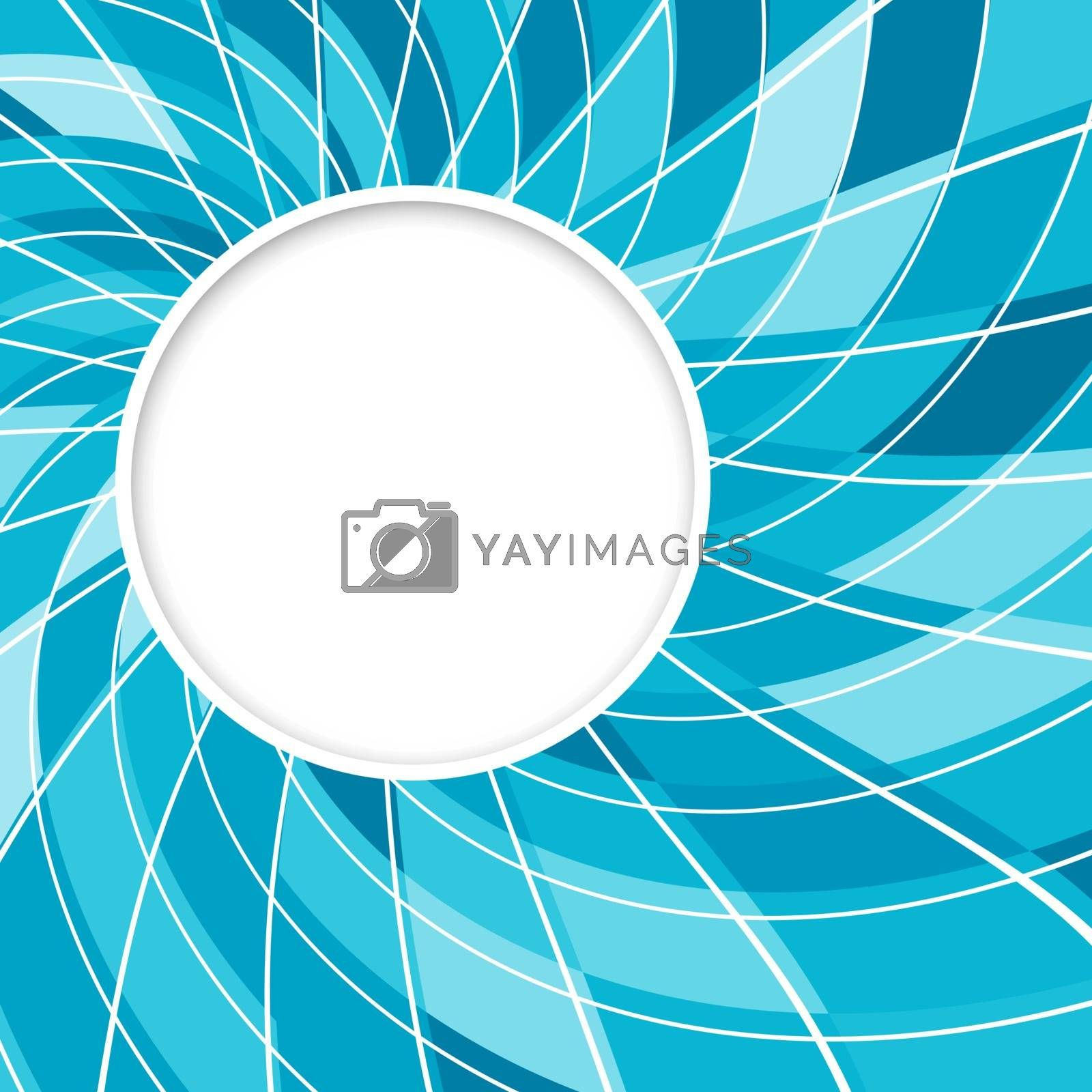 Abstract white round shape with digital blue pattern. Vector background