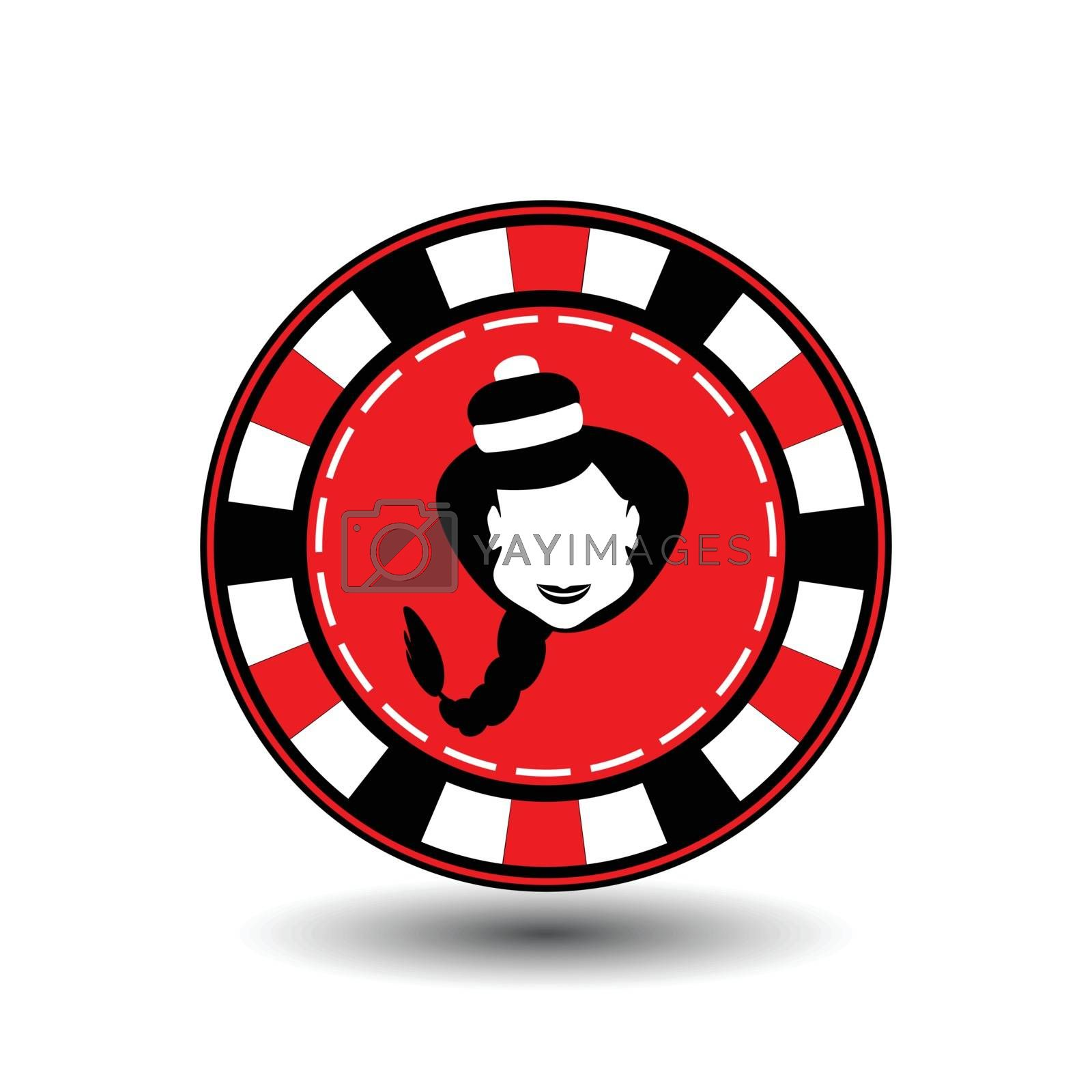 poker chip Christmas new year. Girl Santa Claus in black and red Icon EPS 10 vector illustration on a white background to separate easily. Use for websites, design, decoration, printing, etc.