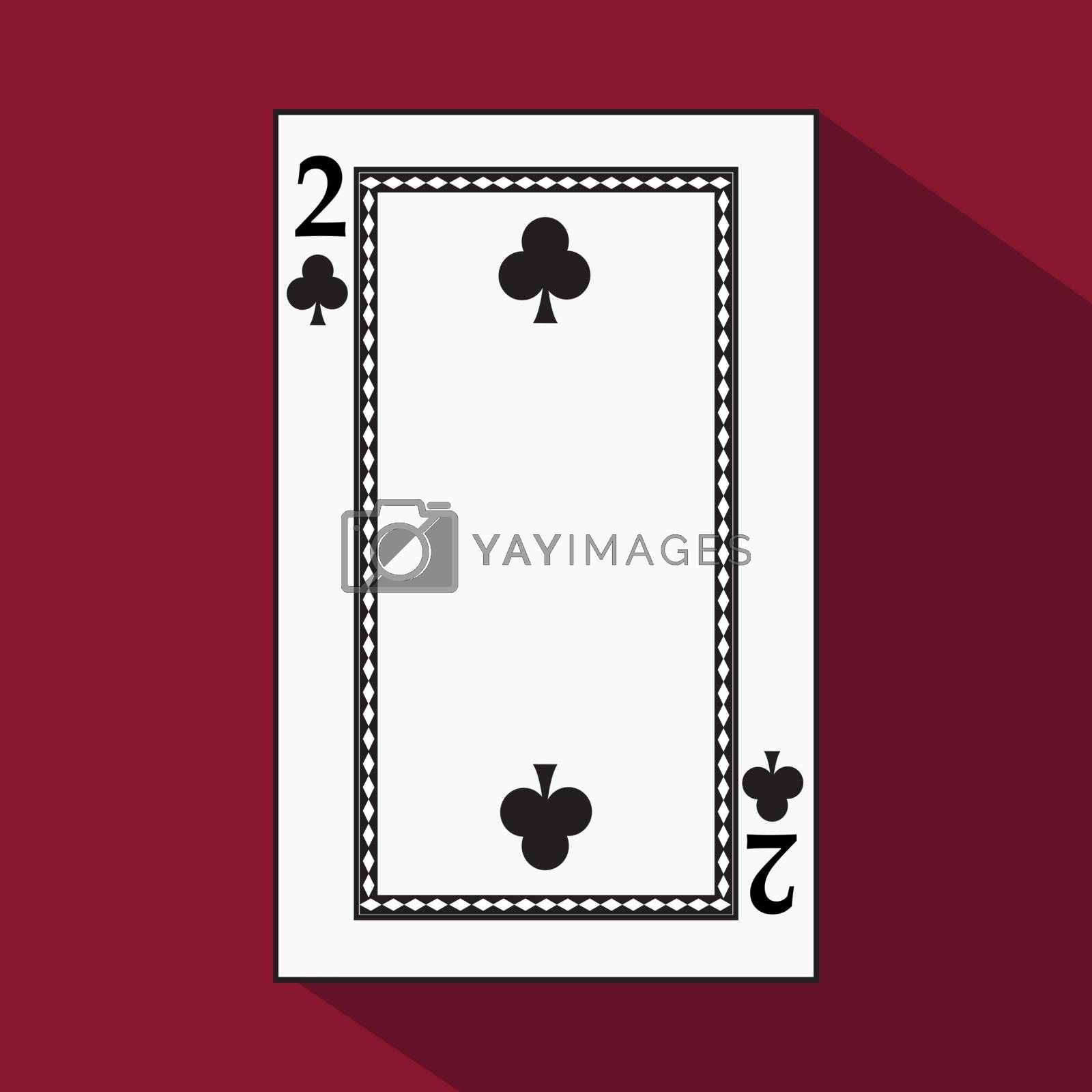 playing card. the icon picture is easy. peak spide TWO 2 with white a basis substrate. a vector illustration on a red background. application appointment for website, press, t-shirt, fabric, interior, registration, design