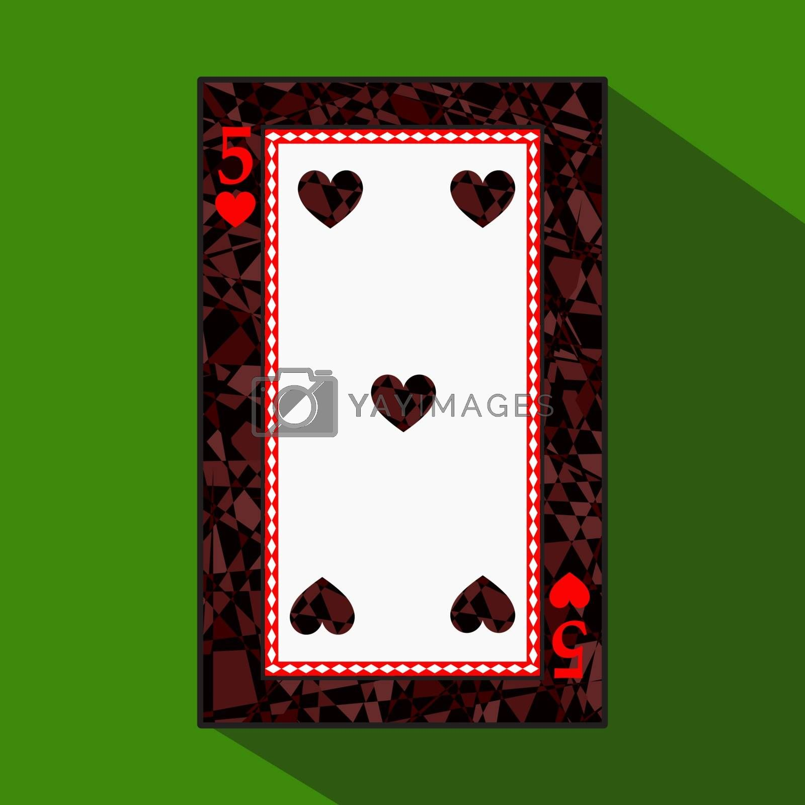 playing card. the icon picture is easy. HEART FOUR 5 about dark region boundary. a vector illustration on a green background. application appointment for website, press, t-shirt, fabric, interior, registration, design
