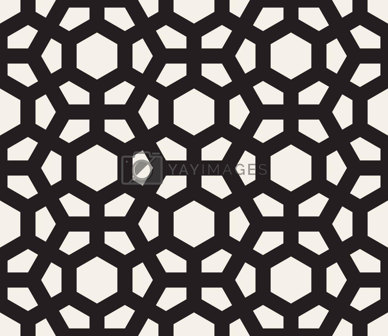 Vector Seamless Black And White Hexagonal Pattern. Abstract Geometric Background Design