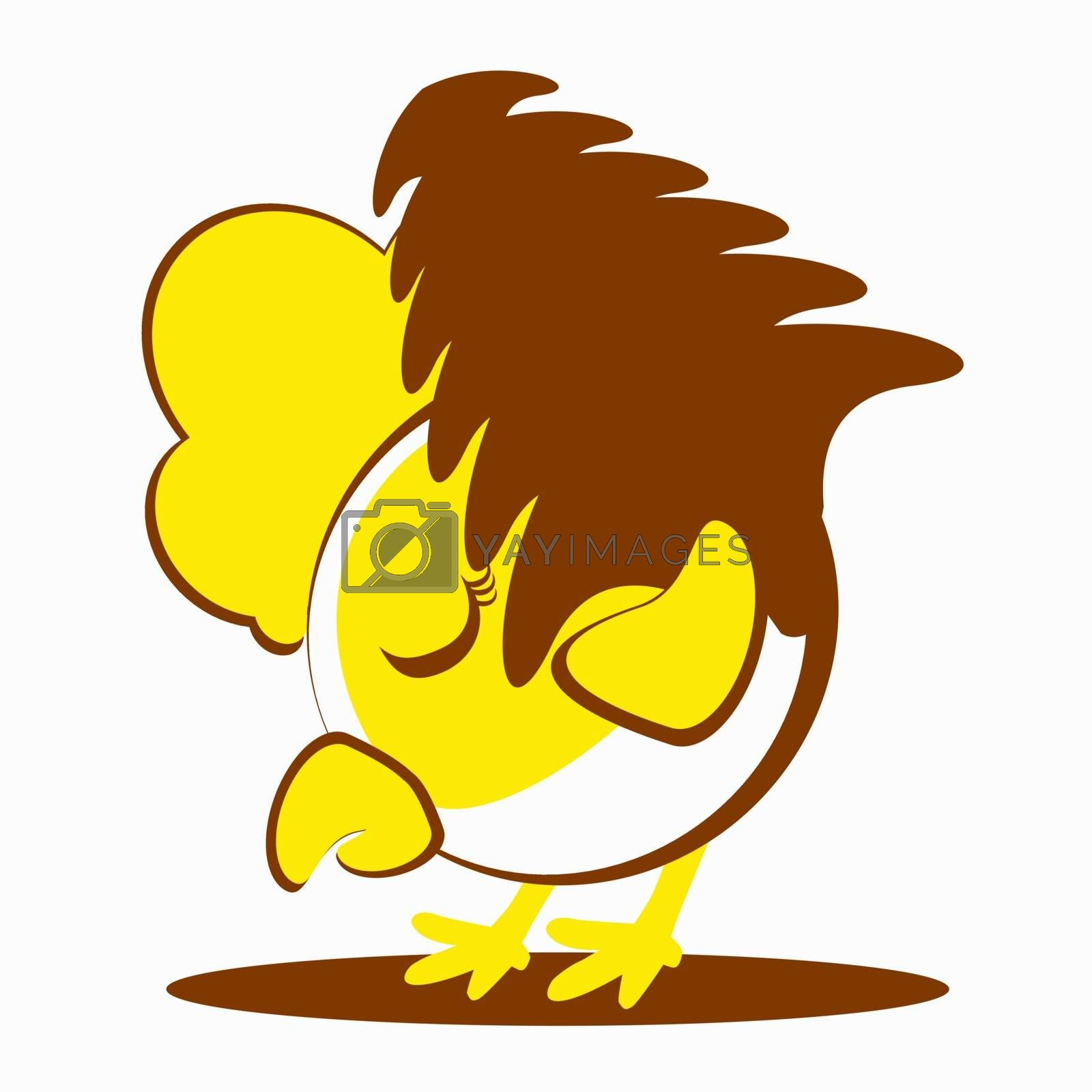 Vector illustration of rooster, symbol of 2017 on the Chinese calendar. Silhouette of yellow cock, decorated . Vector element for New Year s design.
