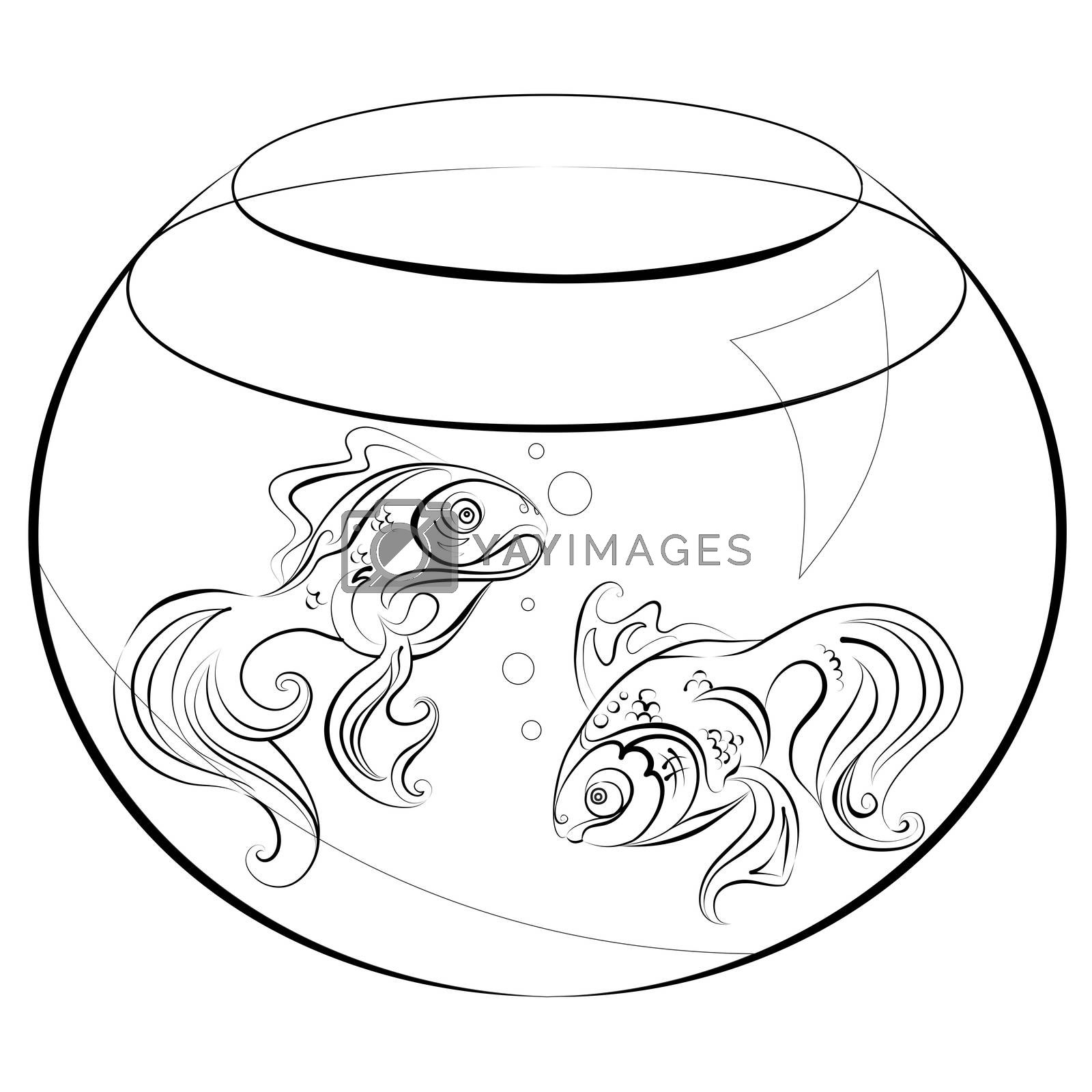 Illustration no fill color - two stylized goldfish in an aquarium