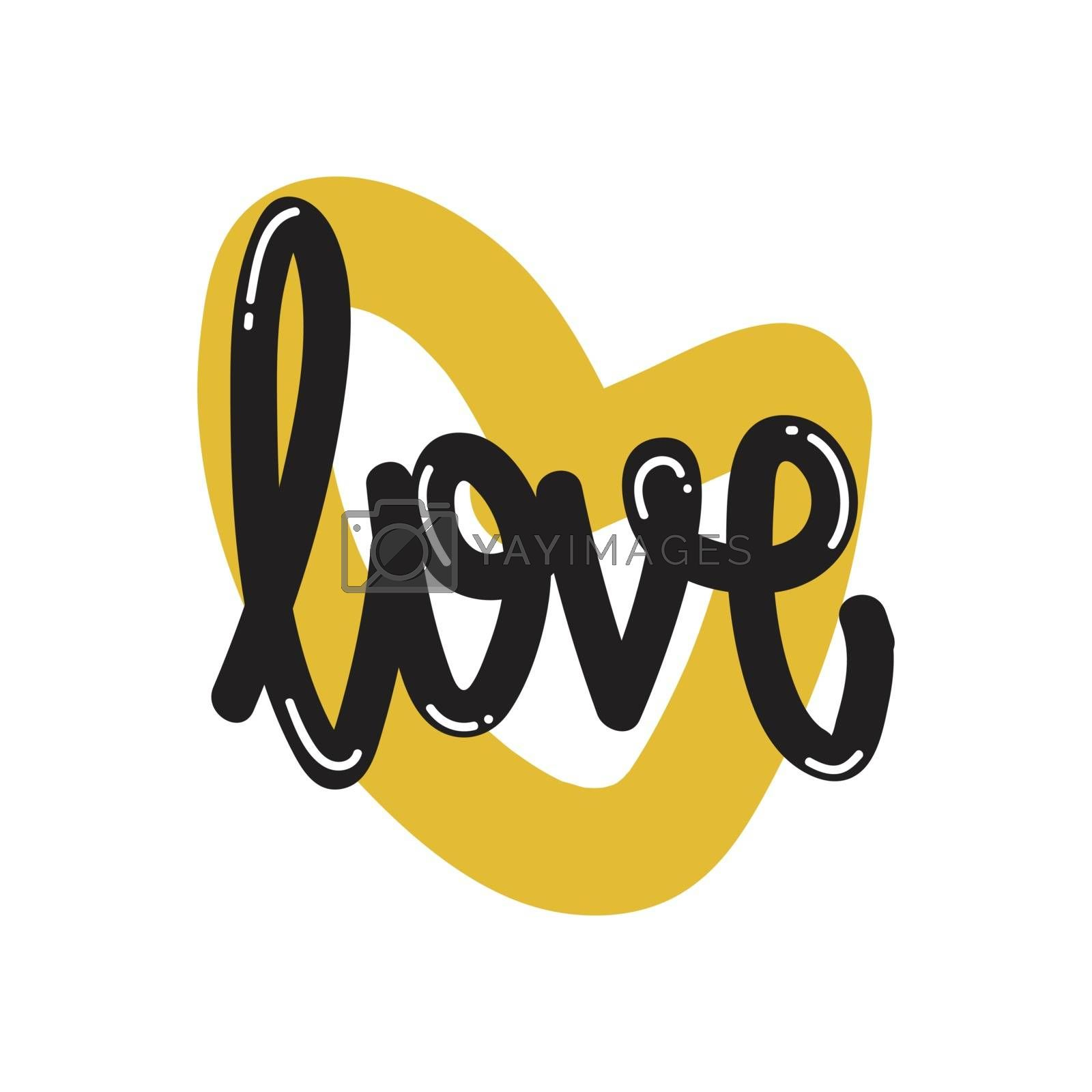 Vector lettering calligraphy. Love poster or card. Black letters on the White Background. Flat design simple minimal style