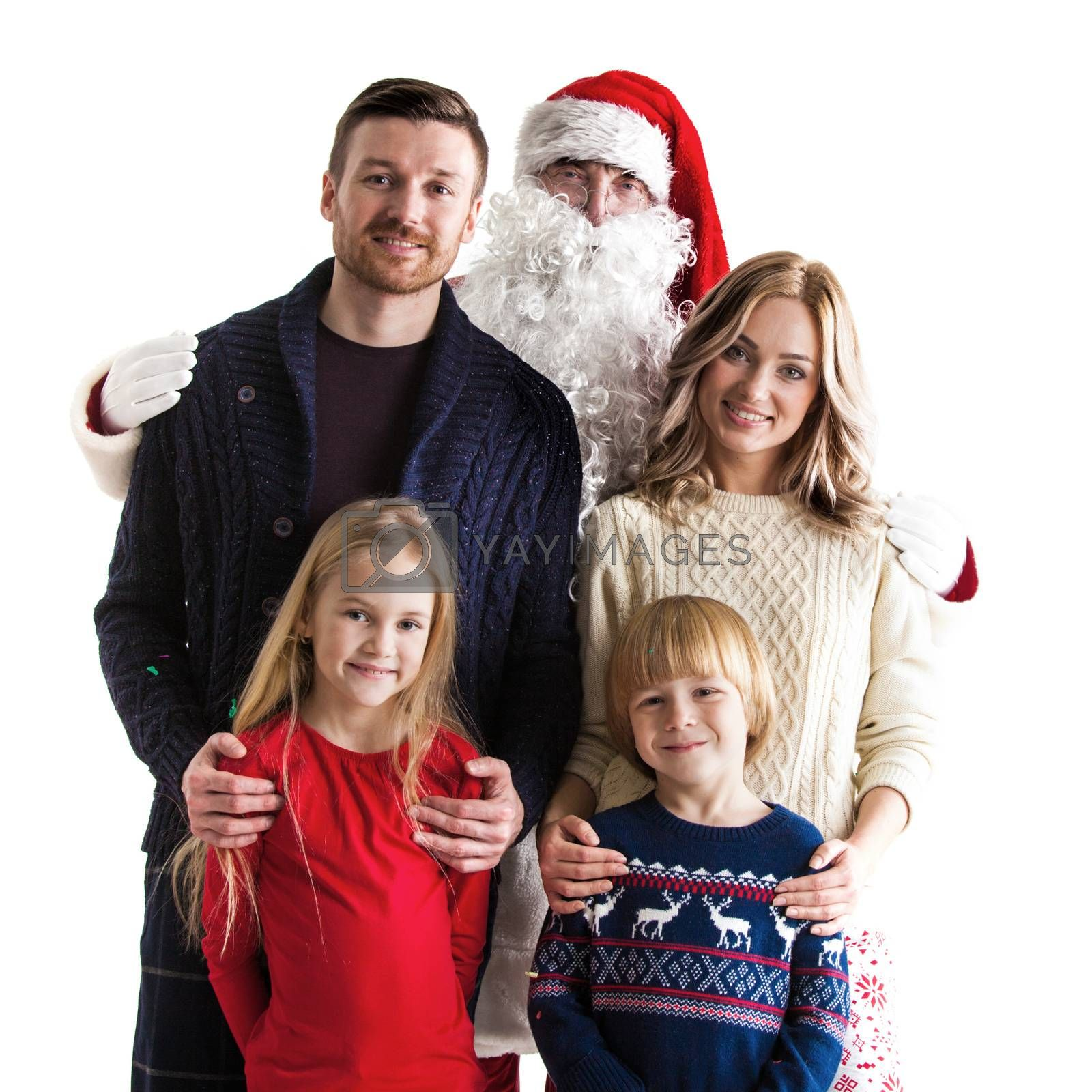 Family with children and Santa Claus isolated on white background