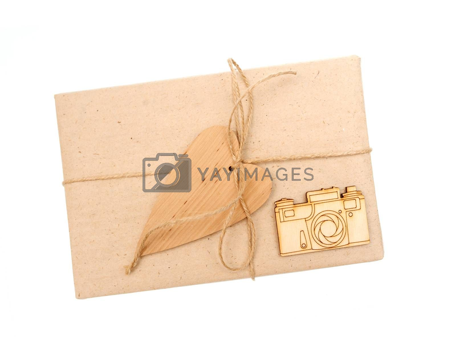 gift box of kraft paper on a white background.