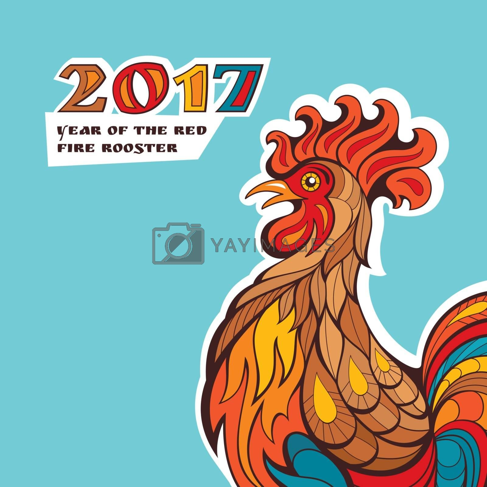 Chinese new year card with colorful rooster. Vector illustration