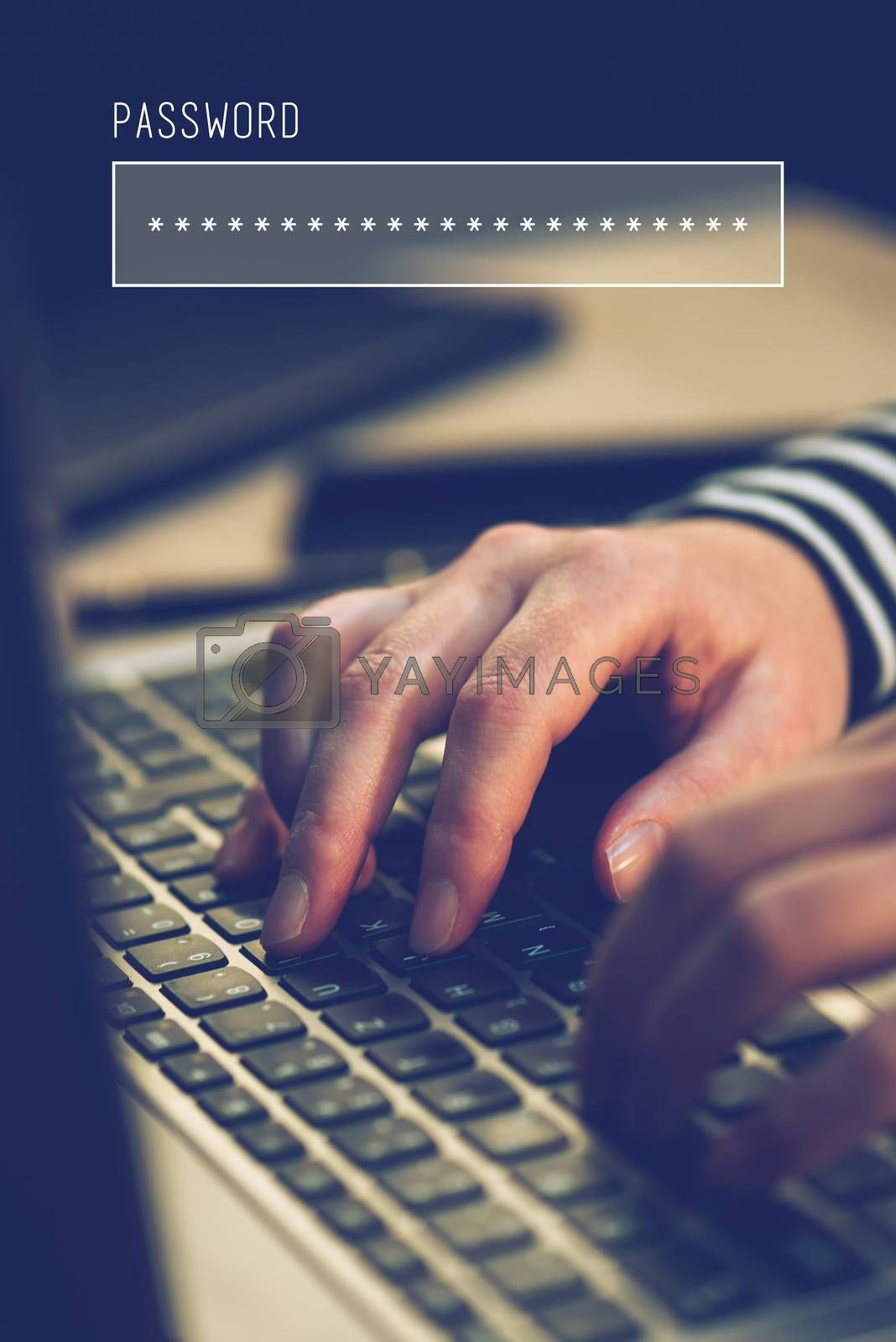 Password box in internet browser, online security with female hands typing on laptop computer keyboard  in office