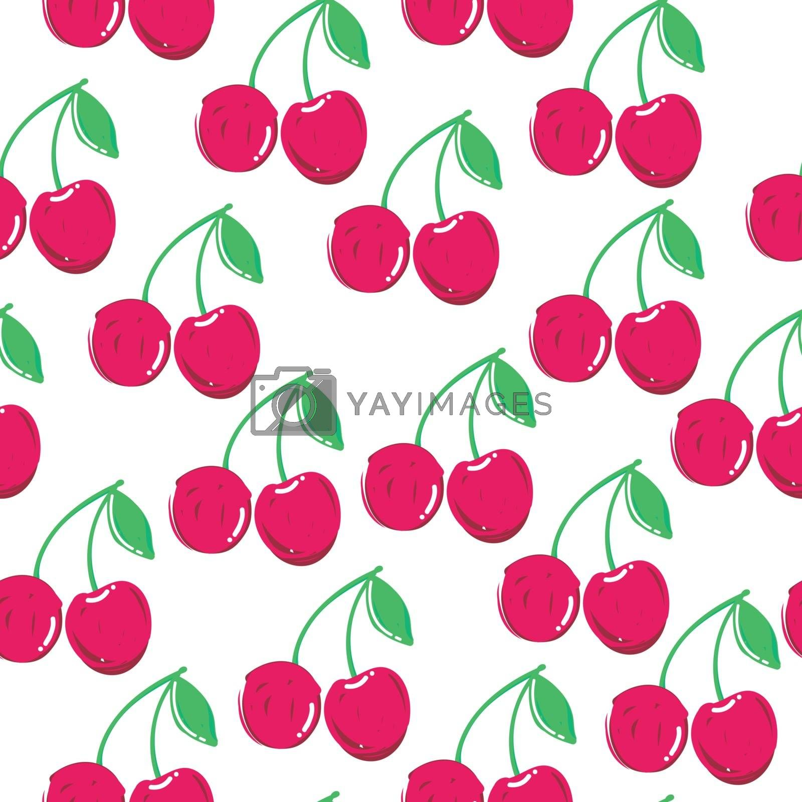 Summer fashion print with cherries and white. background. Vector seamless pattern