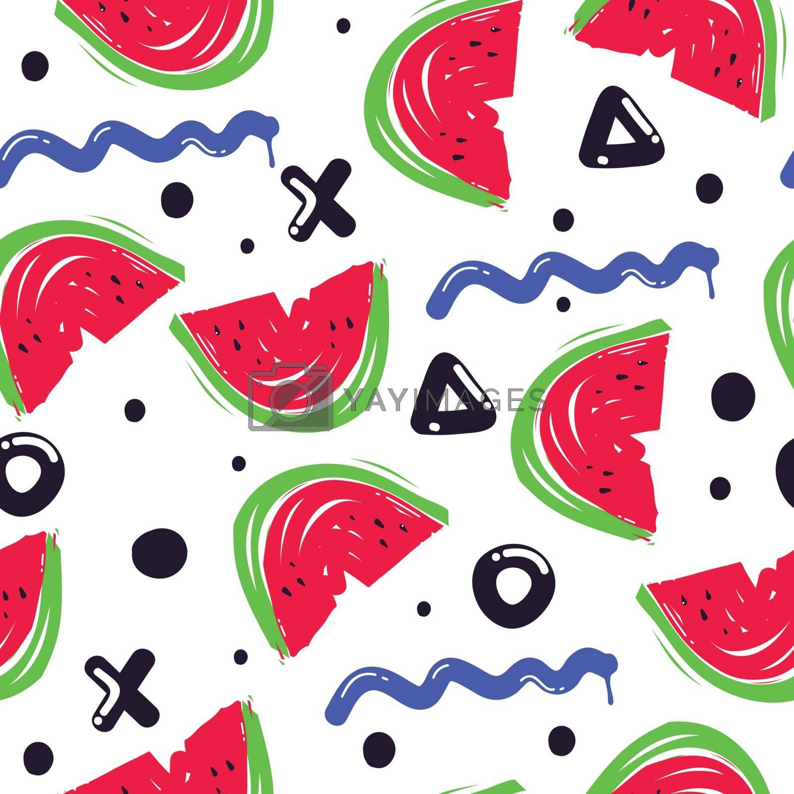 Summer fashion print with watermelons and white. background. Vector seamless pattern