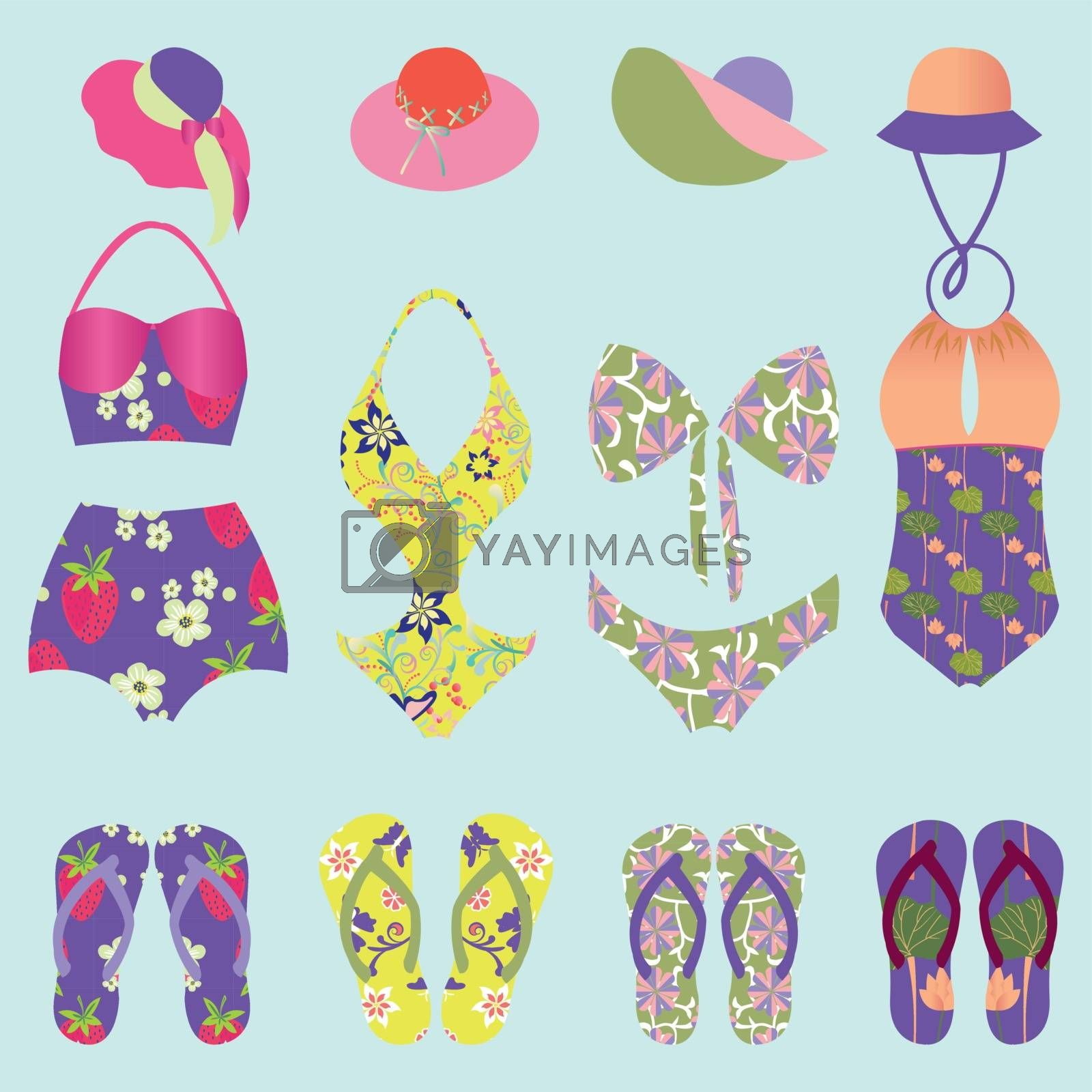 set of beach fashion  colorful swimsuit and  Flip Flops  - Illustration, women fashion clothing