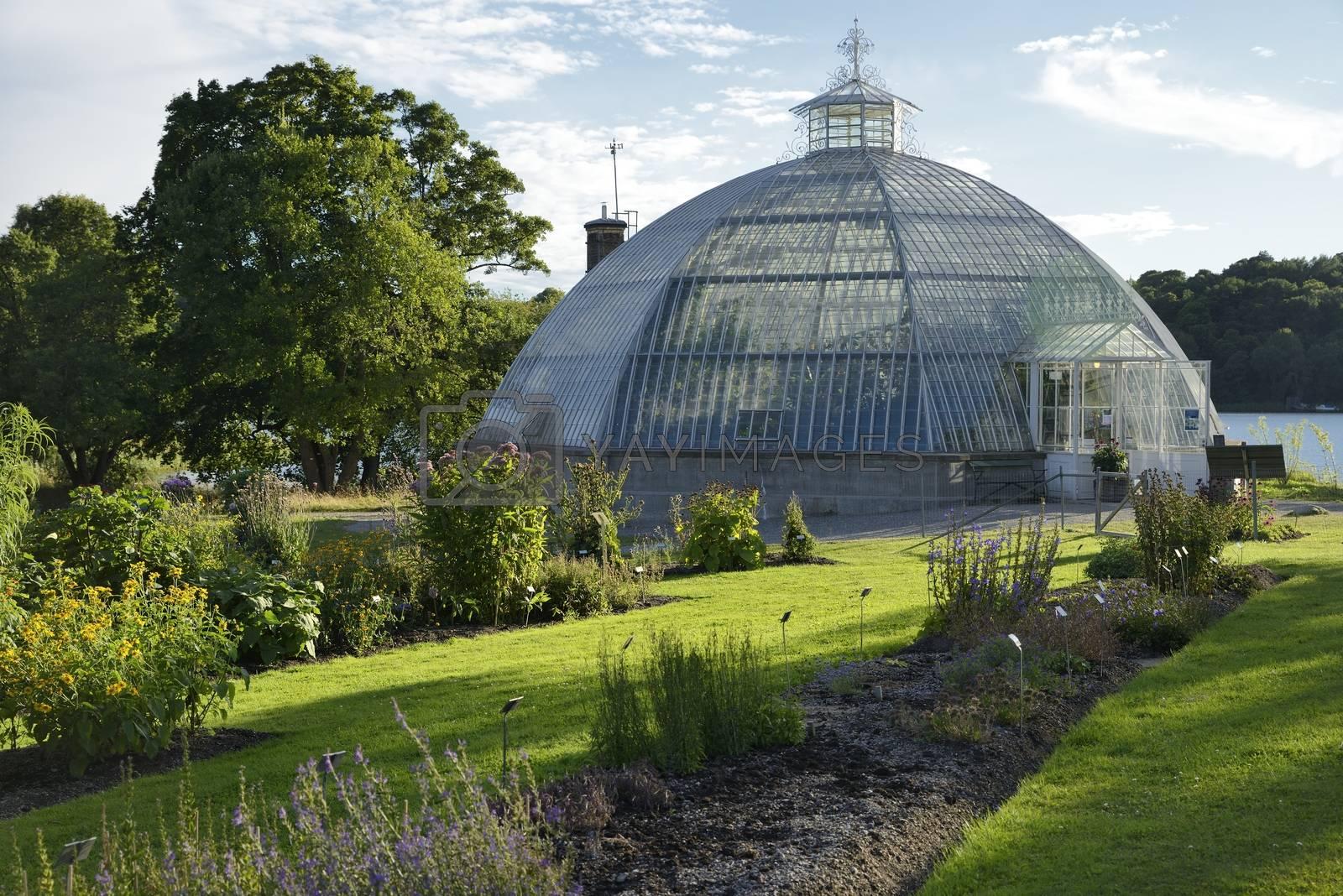 Old Greenhouse Dome in Bergiansk Botanical Garden. Is is a public botanical garden located in Frescati next to Brunnsviken, at Norra Djurgården in Stockholm -Sweden.