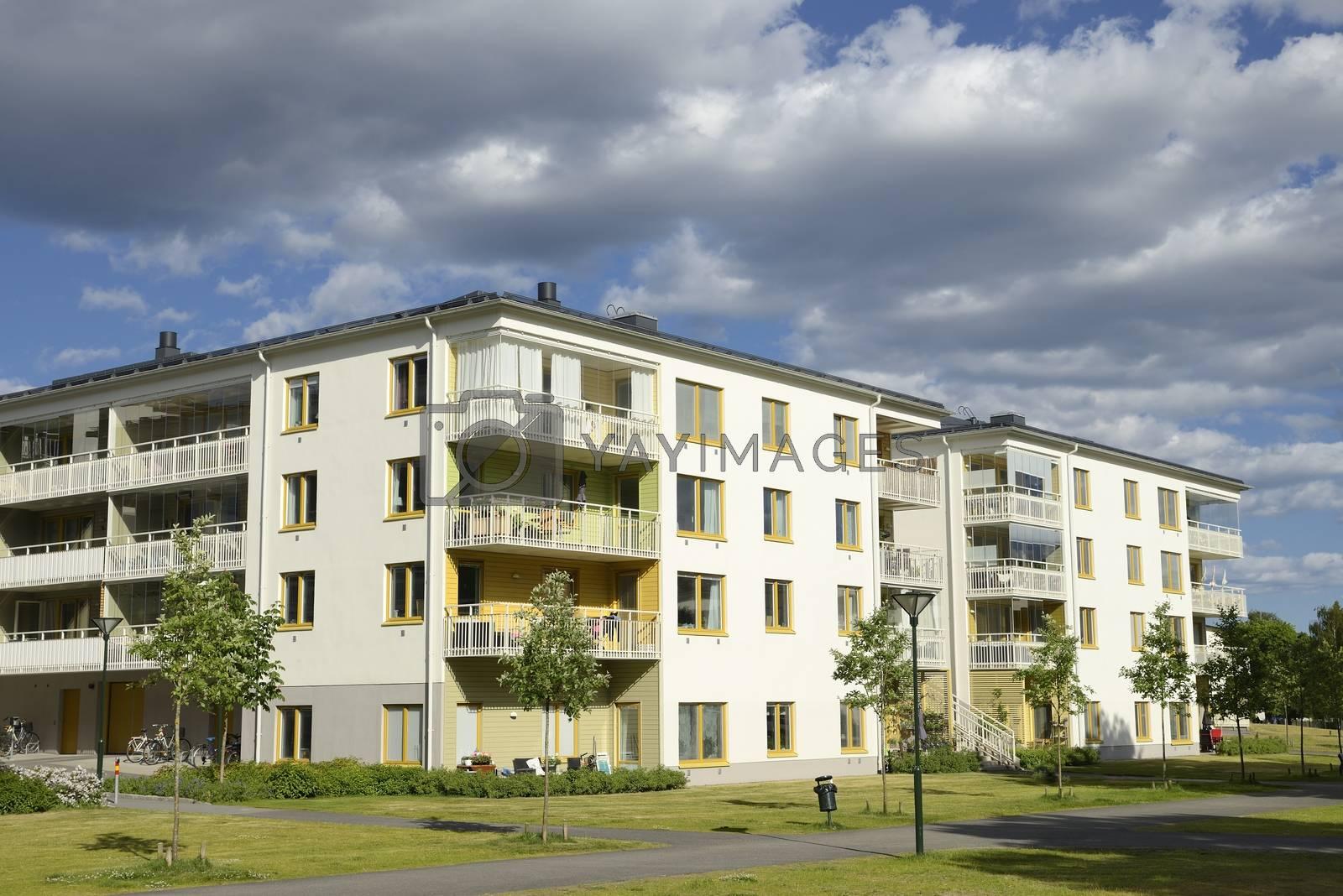 Swedish apartment Block in summer.