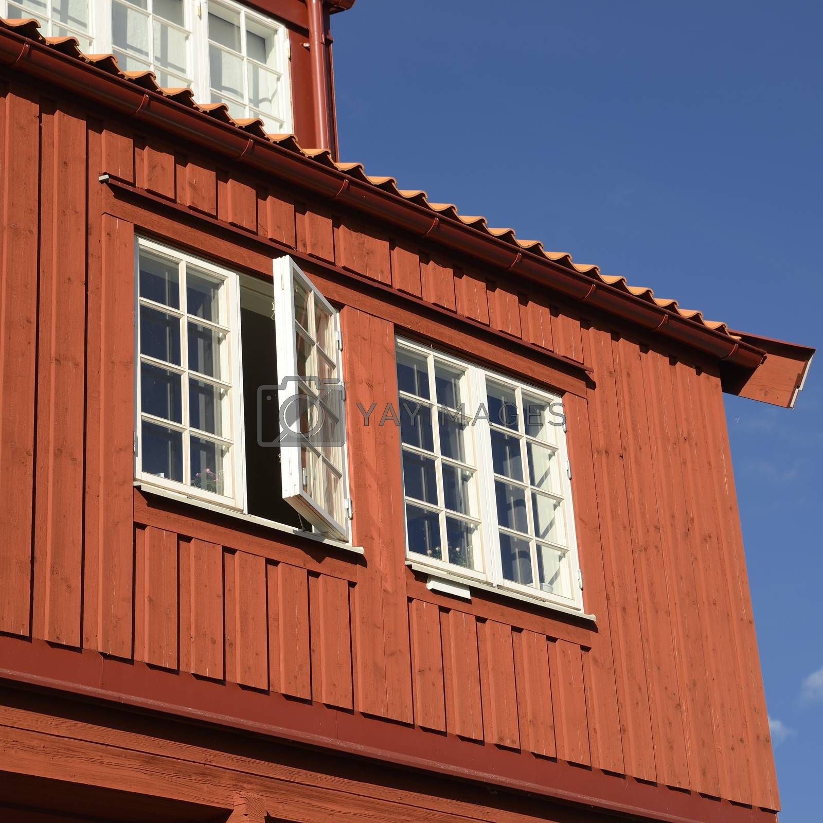 Traditional Swedish wooden facade.