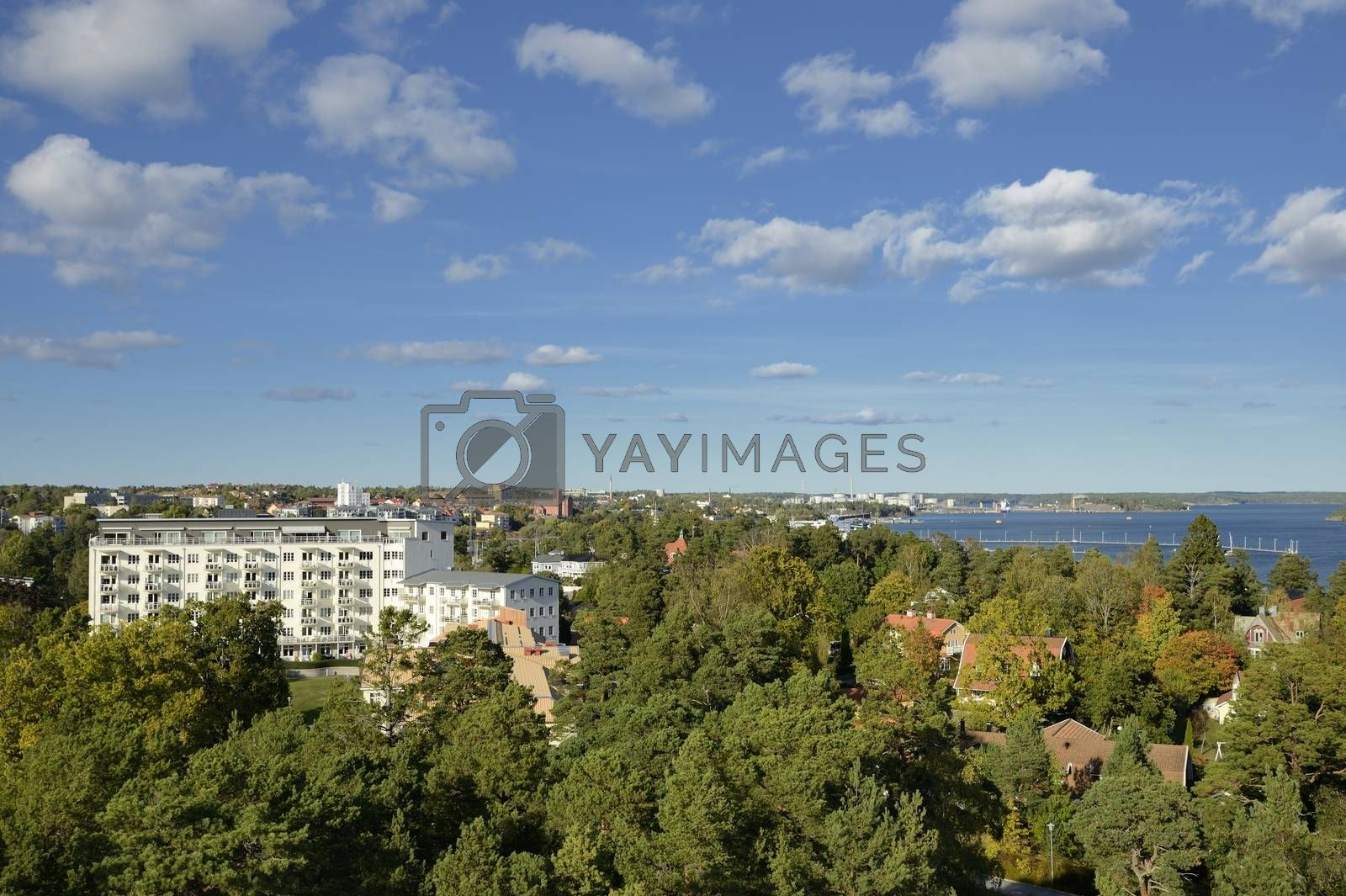 High angle view of a apartment buildning in Nynäshamn - Sweden.