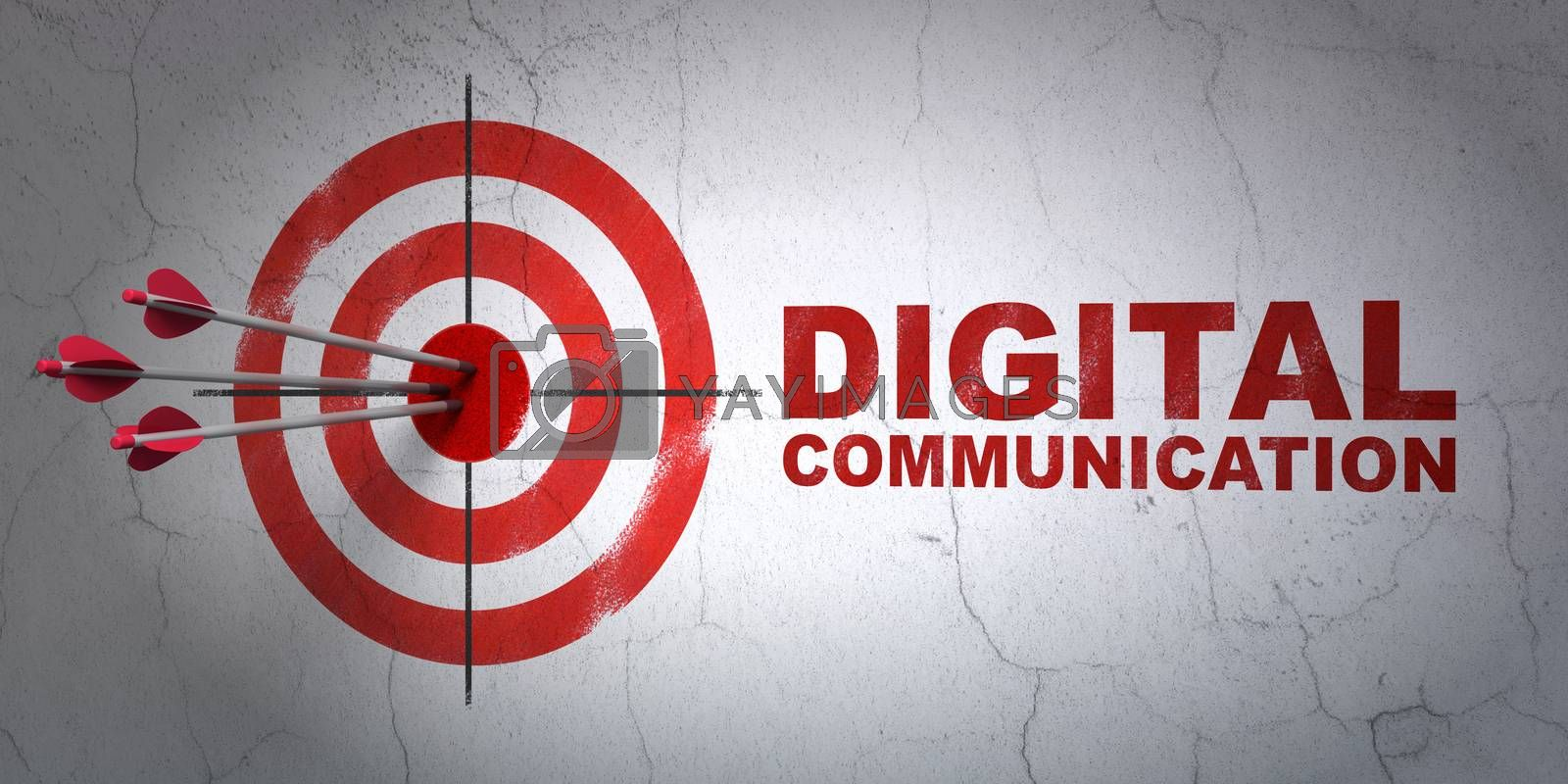 Success Information concept: arrows hitting the center of target, Red Digital Communication on wall background, 3D rendering