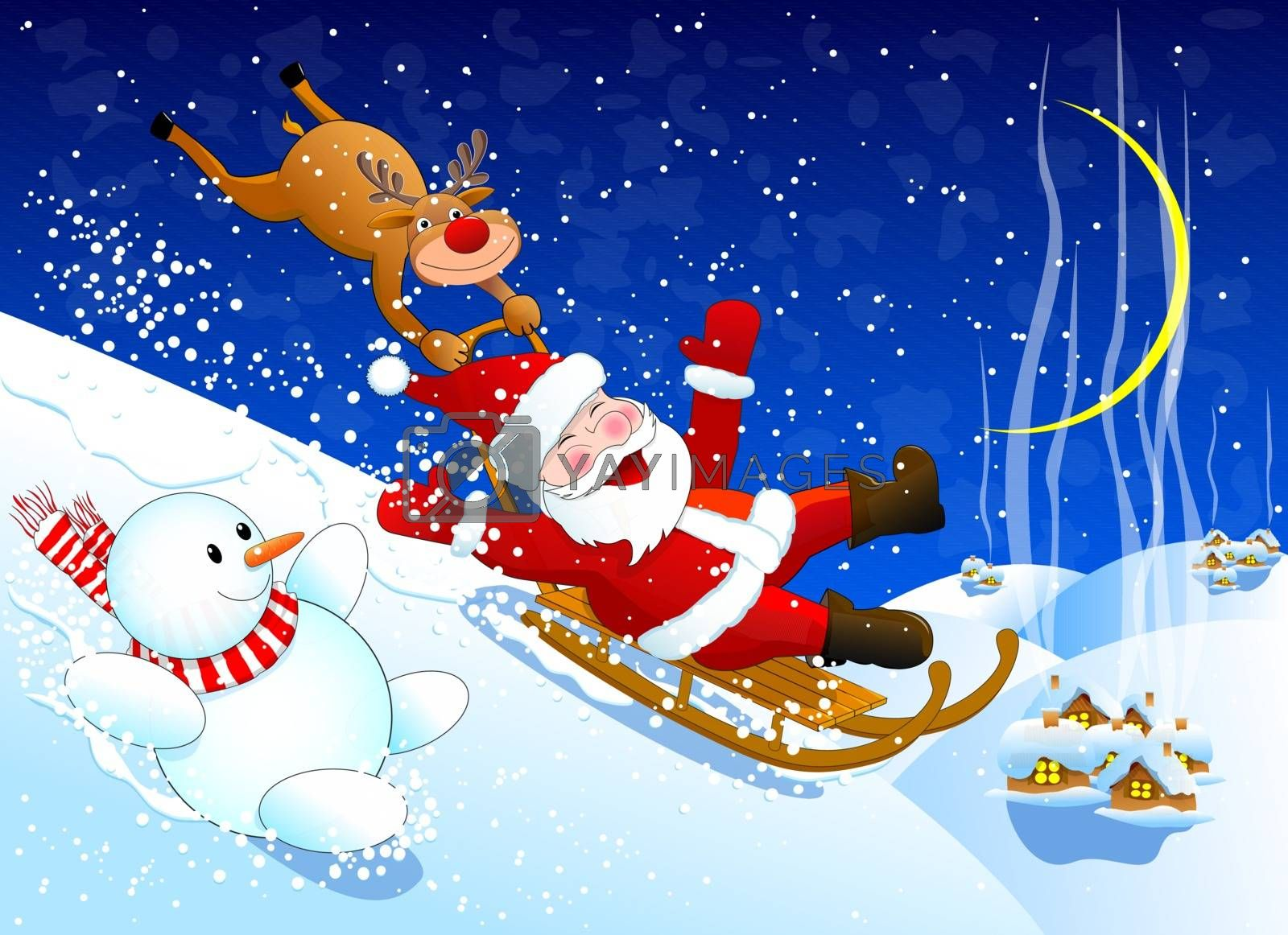 Santa, reindeer Rudolph and a snowman merrily down from the snow hill                                            Santa, reindeer Rudolph and a snowman.  Santa, reindeer Rudolph and a snowman merrily down with a snow slide. Winter Christmas night.