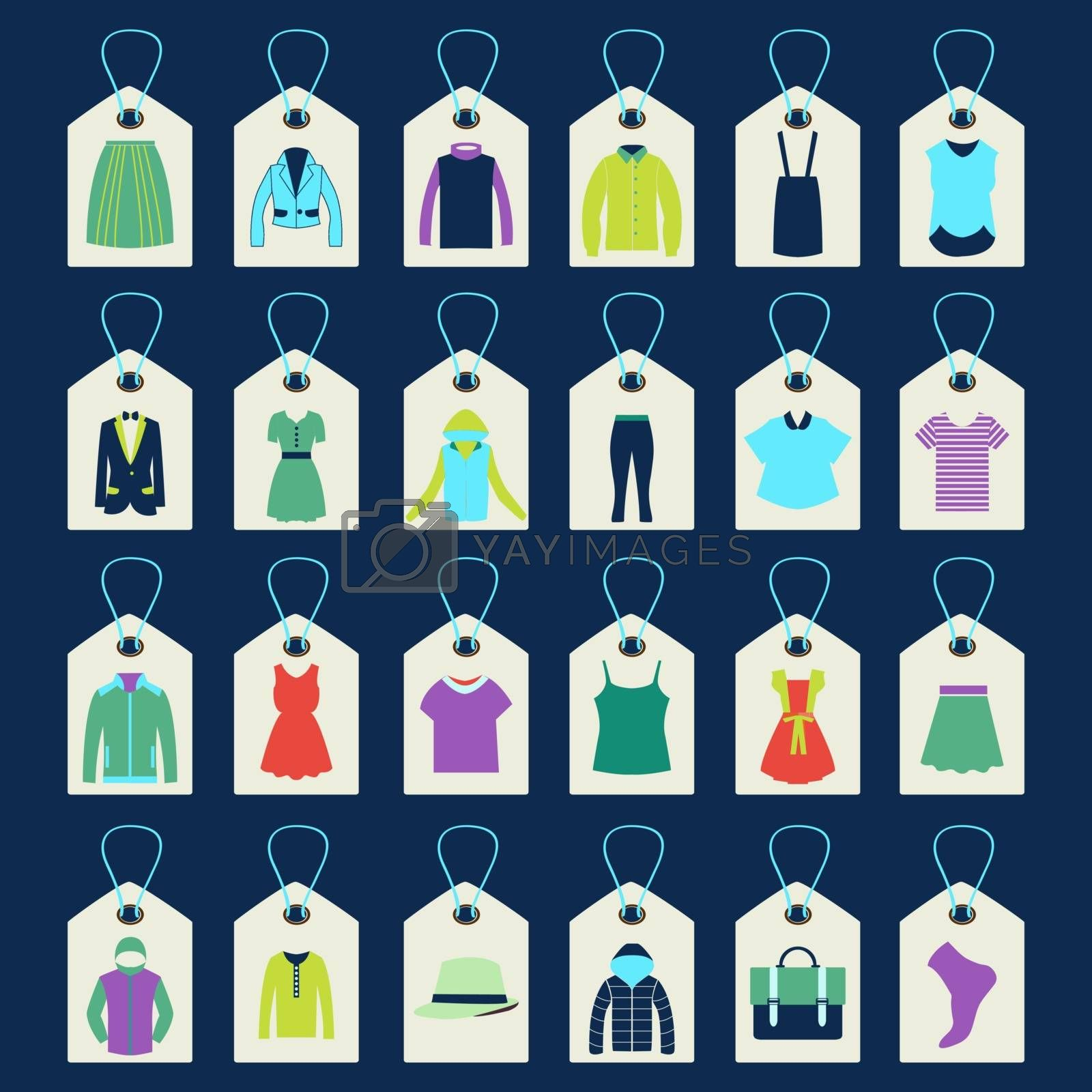 Shopping related icons made in tag shape  collection of women and men  fashion Clothing