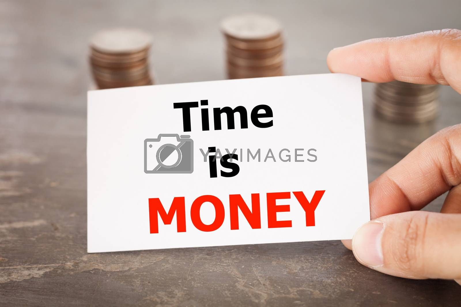 Time is money inspirational quote on name card with coins