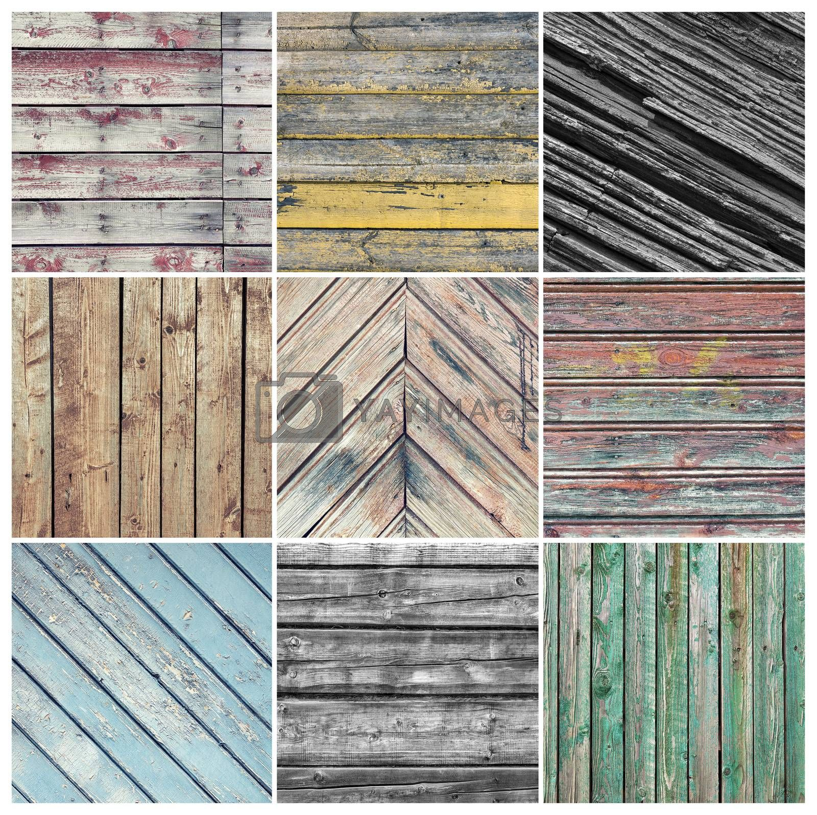 Square photo collage with nine old weathered wood pictures