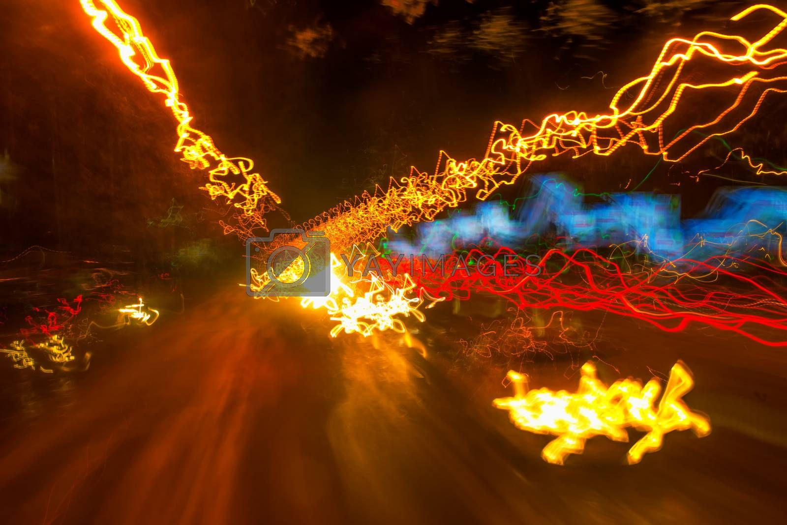 Traffic light paint with long exposure, colorful abstract motion blur background