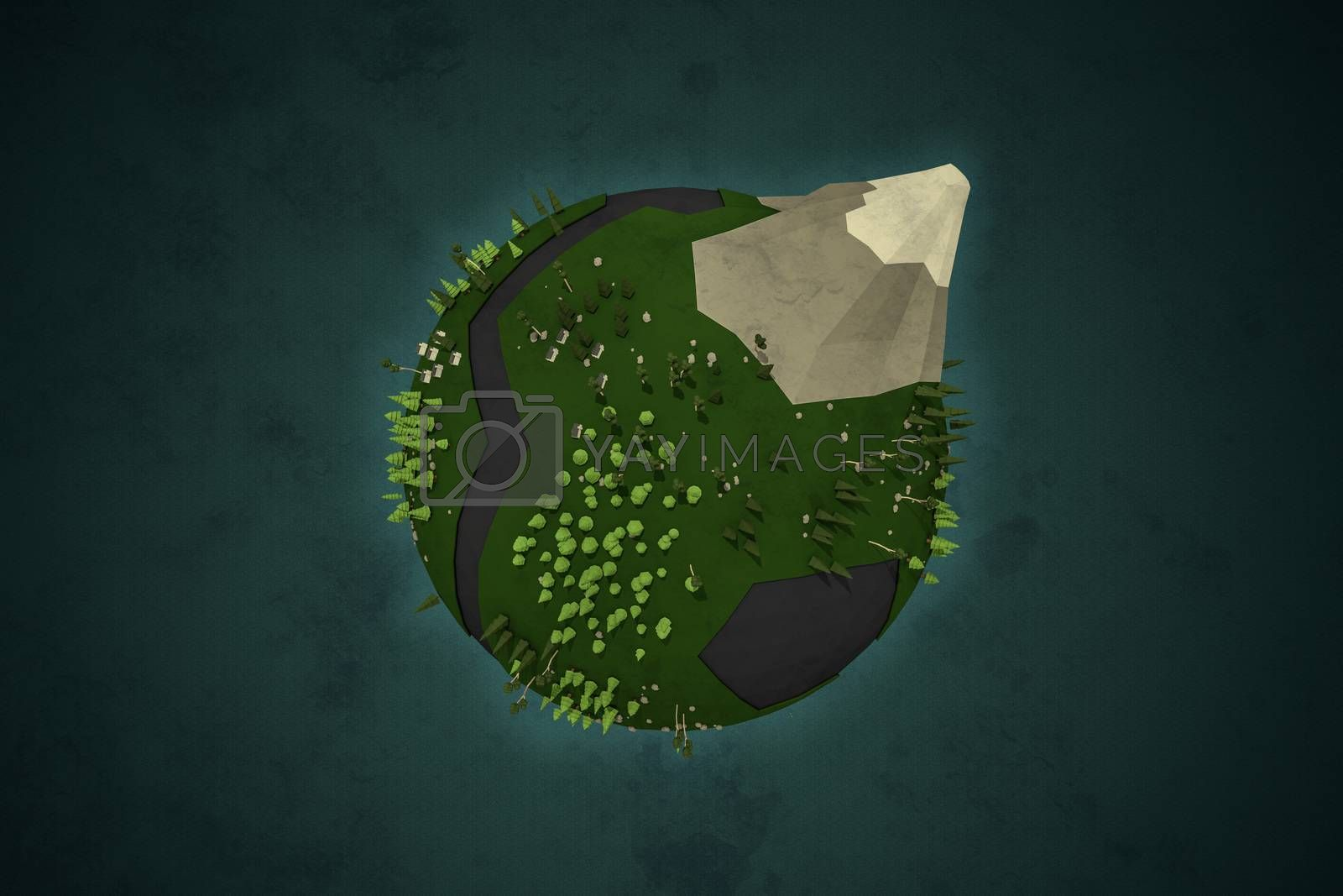 3d illustration of a low poly planet