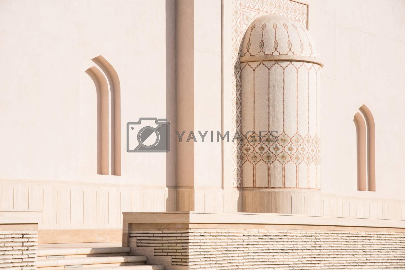 Wall detail of the Sultan Qaboos Grand Mosque in Salalah, Dhofar Region of Oman.