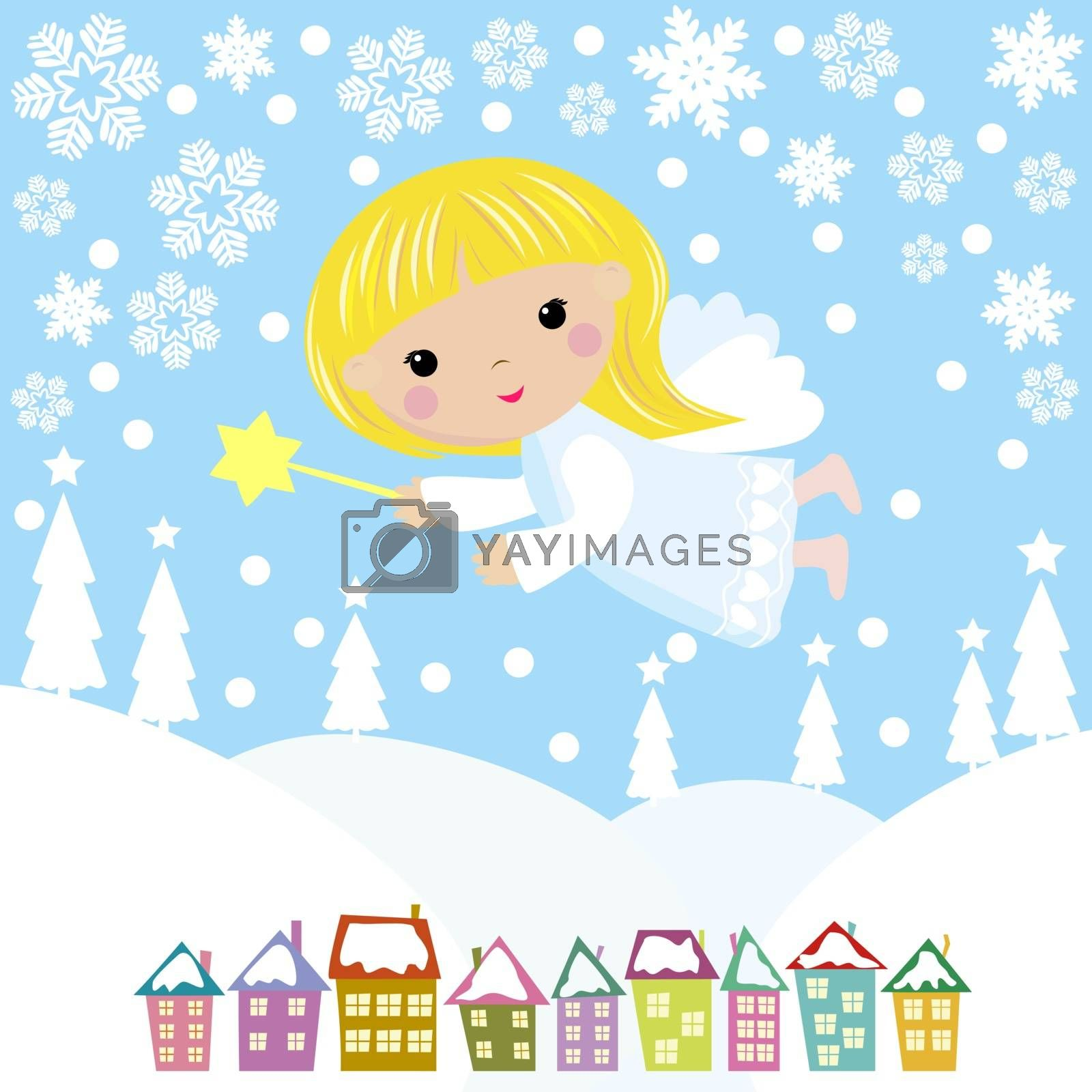 Christmas Angel flies in the night sky over the city and trees. Greeting card with Christmas angel.