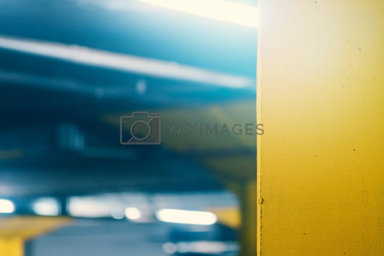 Royalty free image of Underground garage parking lot, blur abstract defocussed backgro by stevanovicigor