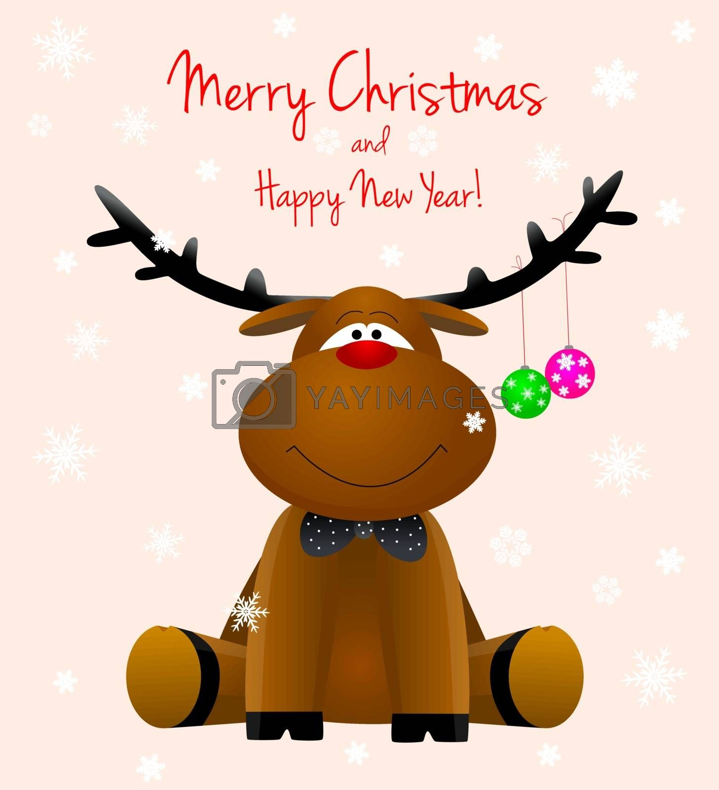 Cartoon reindeer on a greeting card with the Christmas.