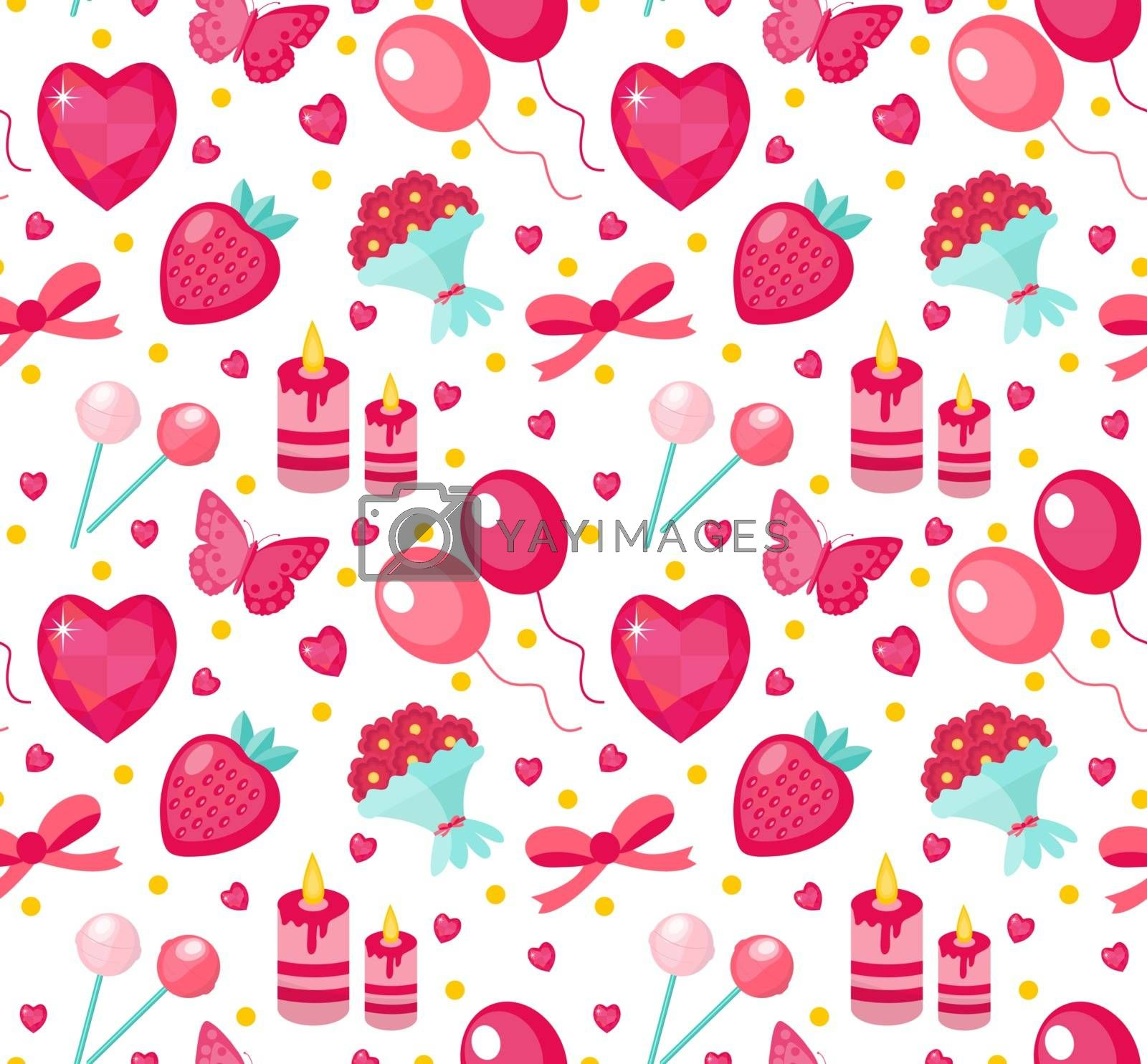 Cute seamless pattern Valentines day with strawberries, heart, flower, butterfly, ribbon. Love, romance endless background, texture, wallpaper Flat cartoon style Vector illustration
