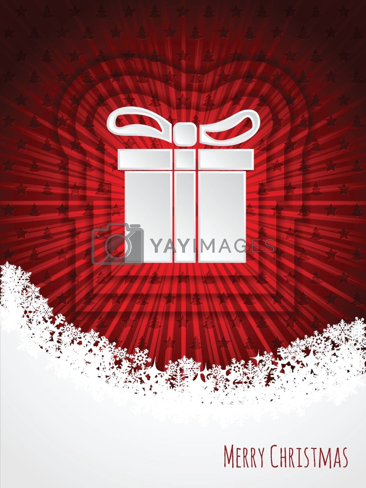 Red christmas greeting card design with bursting christmas giftbox