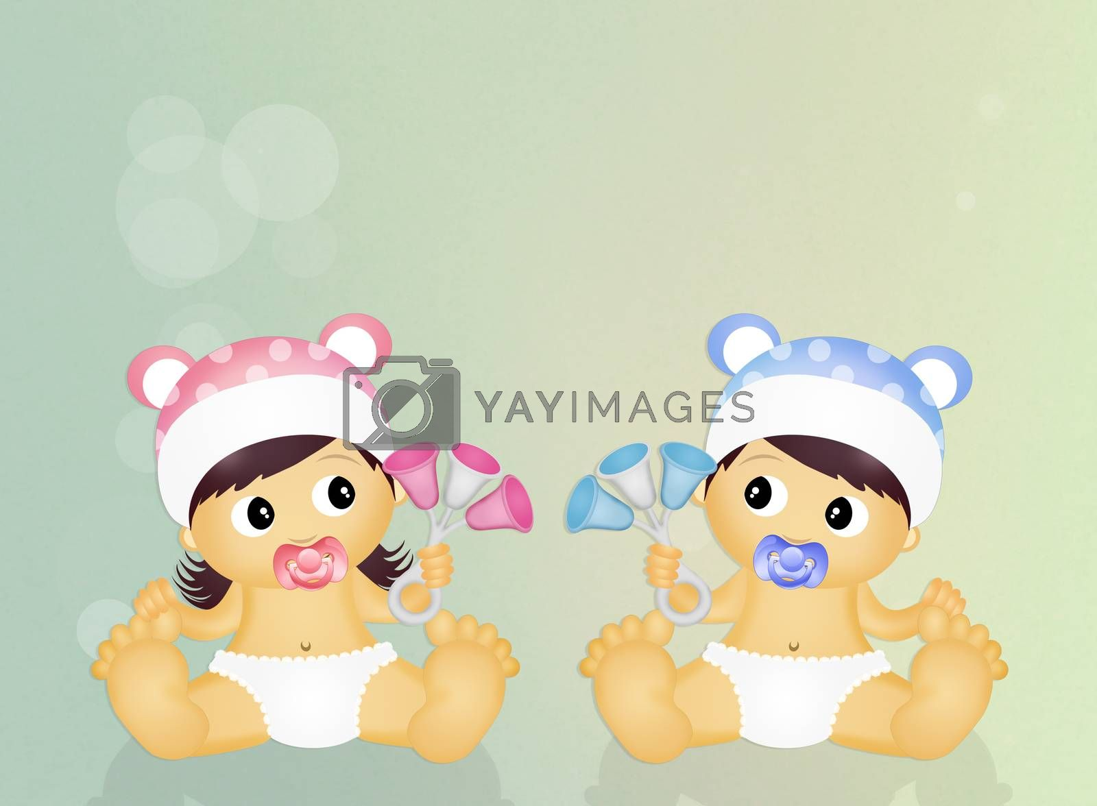 cute illustration of babies