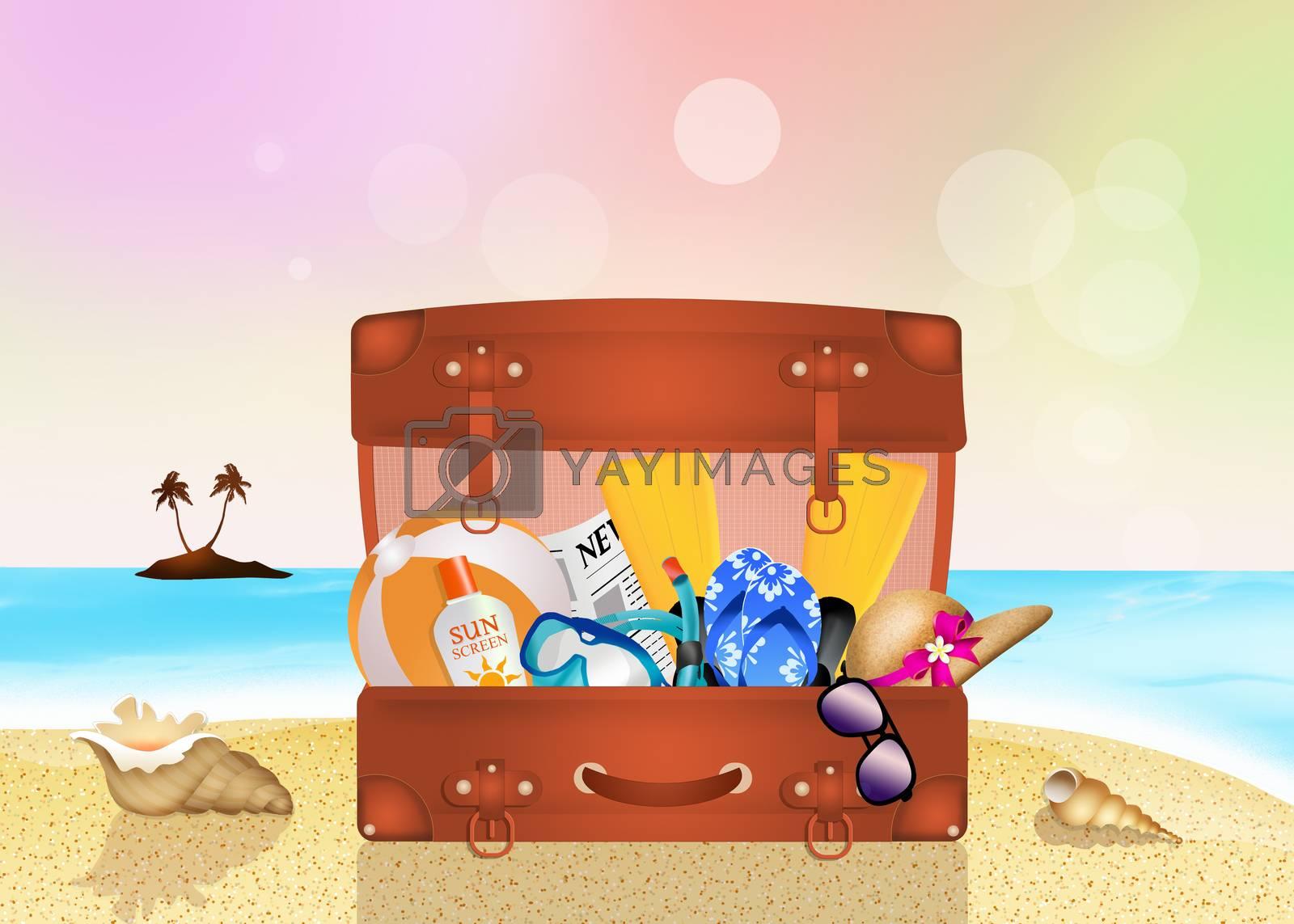 illustration of summer suitcase