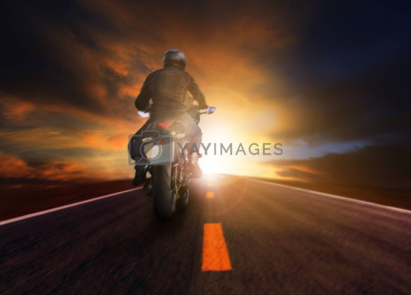 man riding motorcycle on road for traeling lifestyle