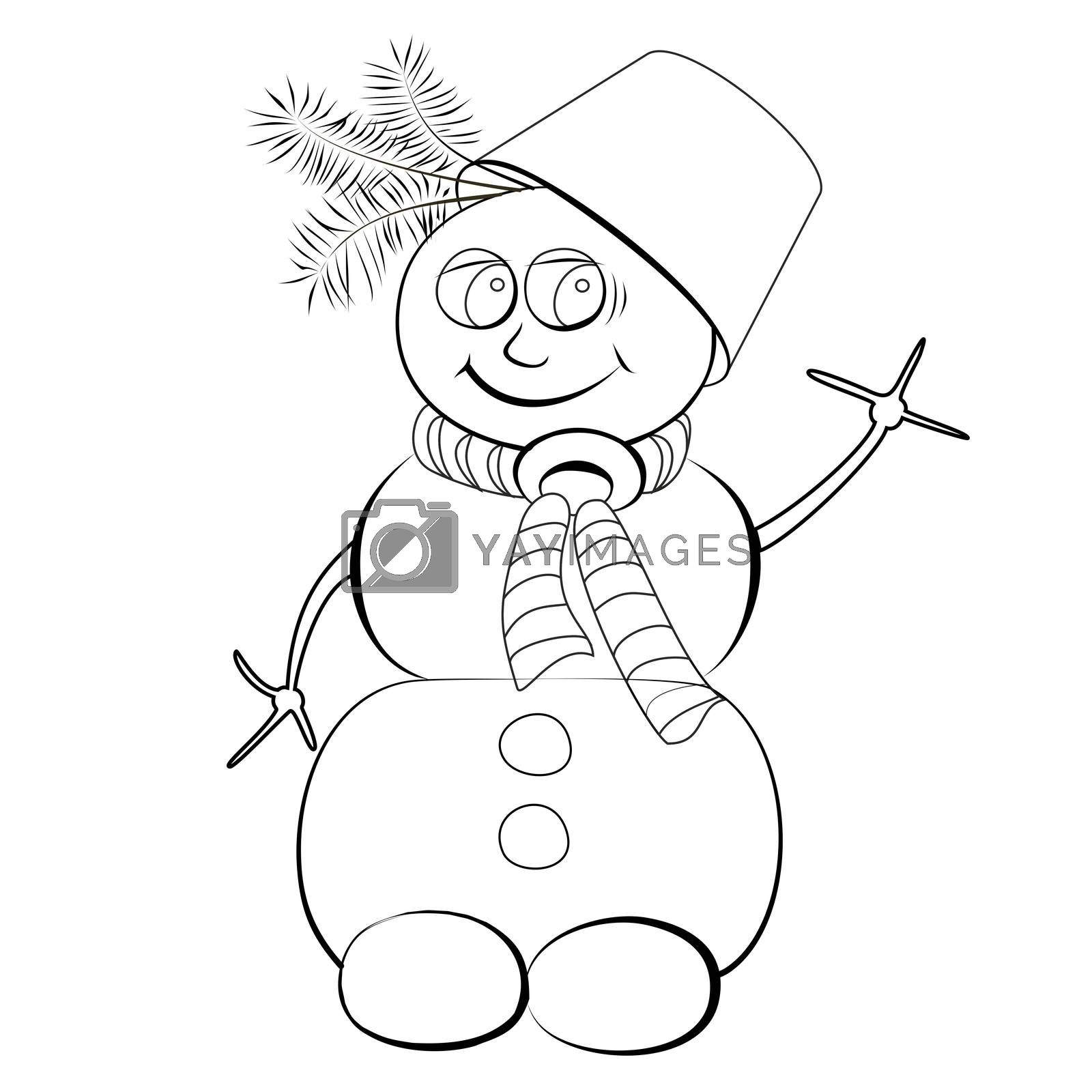 Colorless cheerful snowman with a bucket on his head by Madhourse