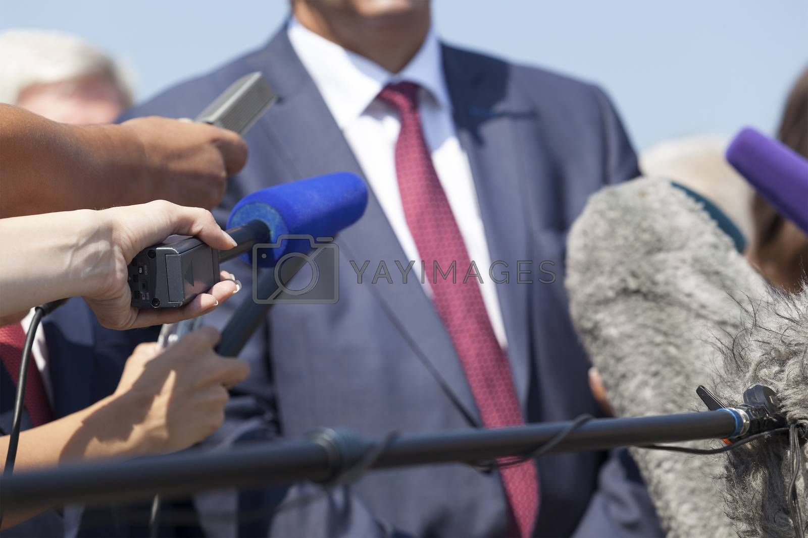 Media interview with businessman, politician or spokesperson