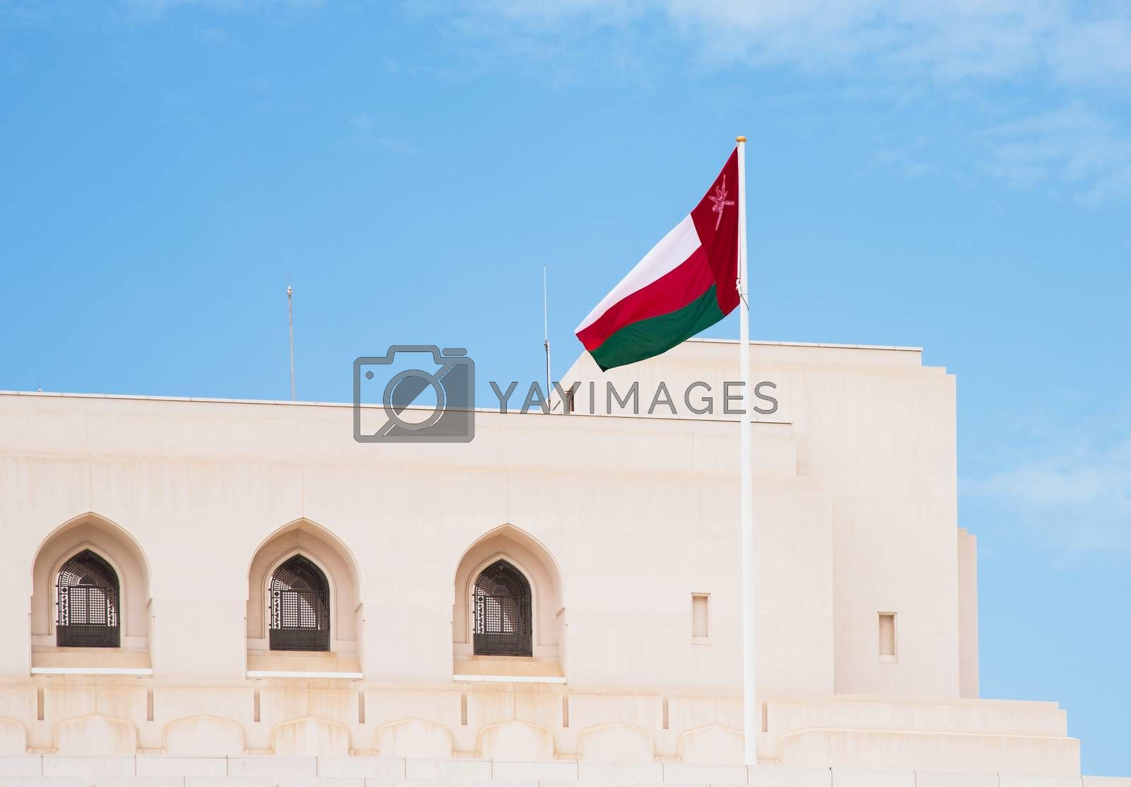 The flag of Oman at The Royal Opera House in Muscat, one of many cultural projects initiated by Sultan Qaboos bin Said al Said.