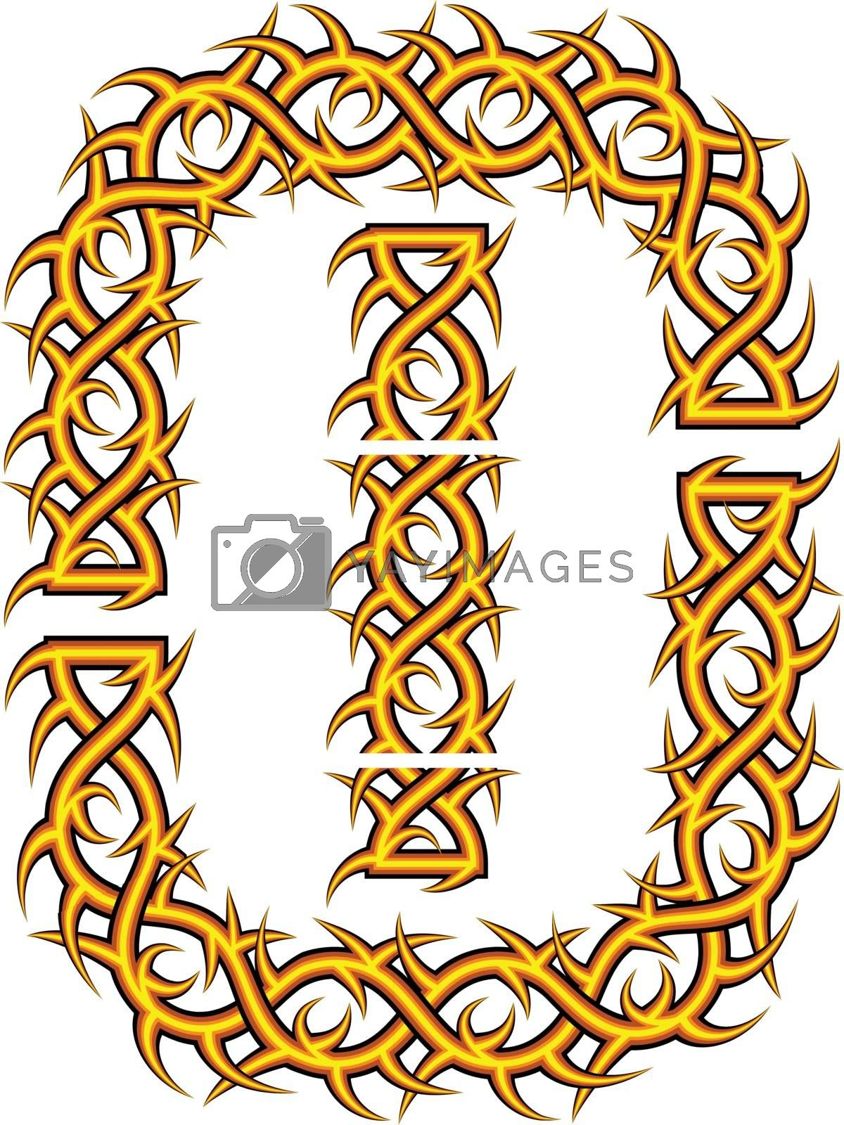 Brush with celtic an ornament with thorns and prickles in a vector