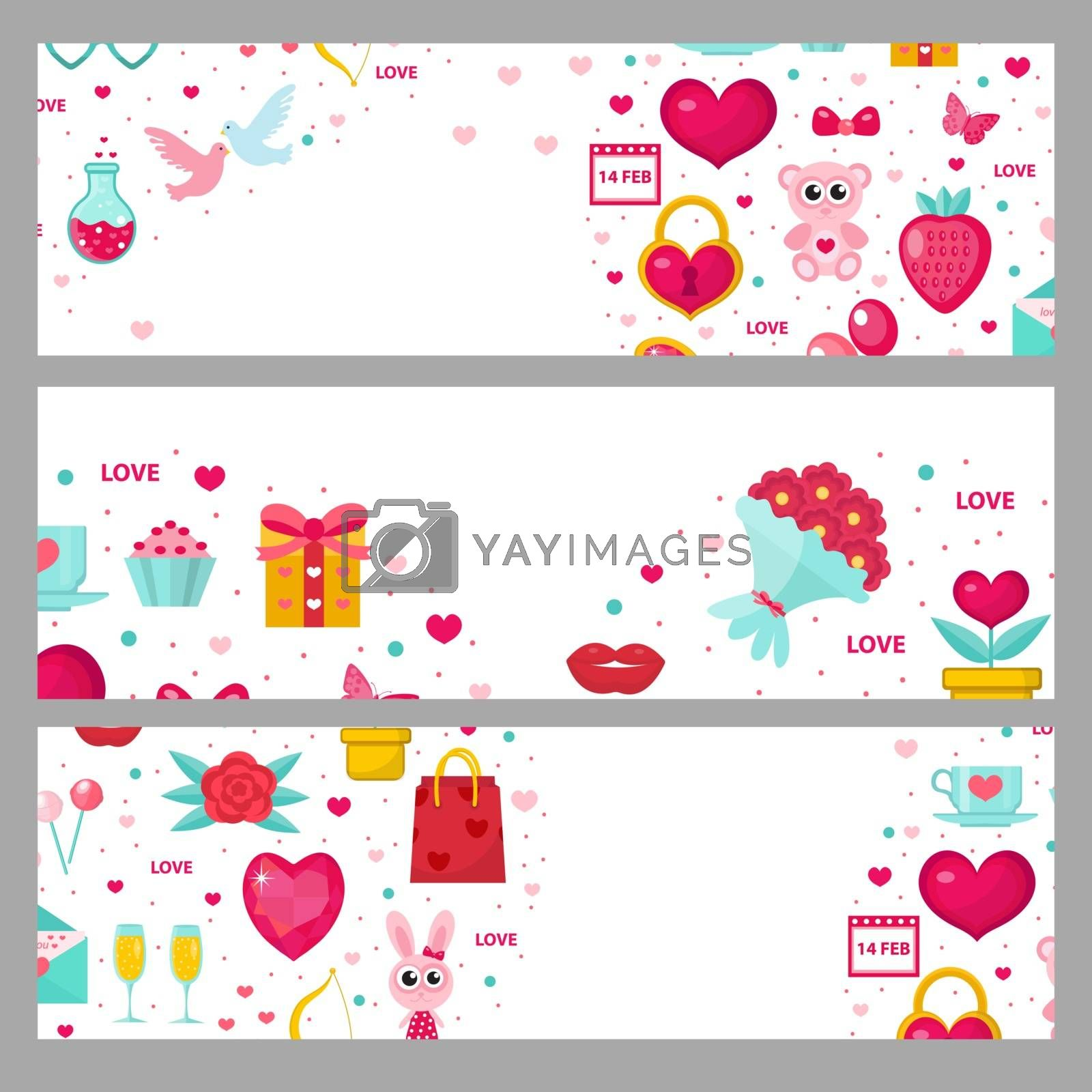 Valentines day banner set. Template with space for text. Love, romance horizontal border. Vector illustration. by Lucia Fox